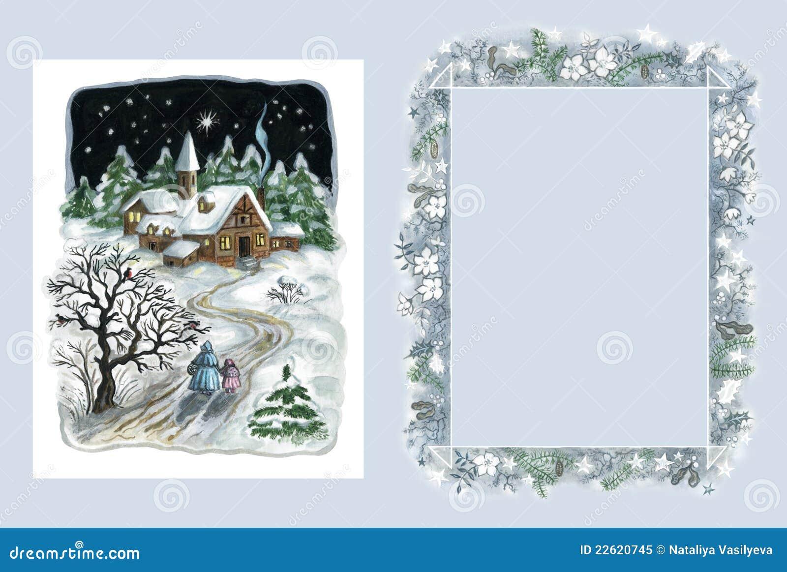 Cartão e frame de Natal