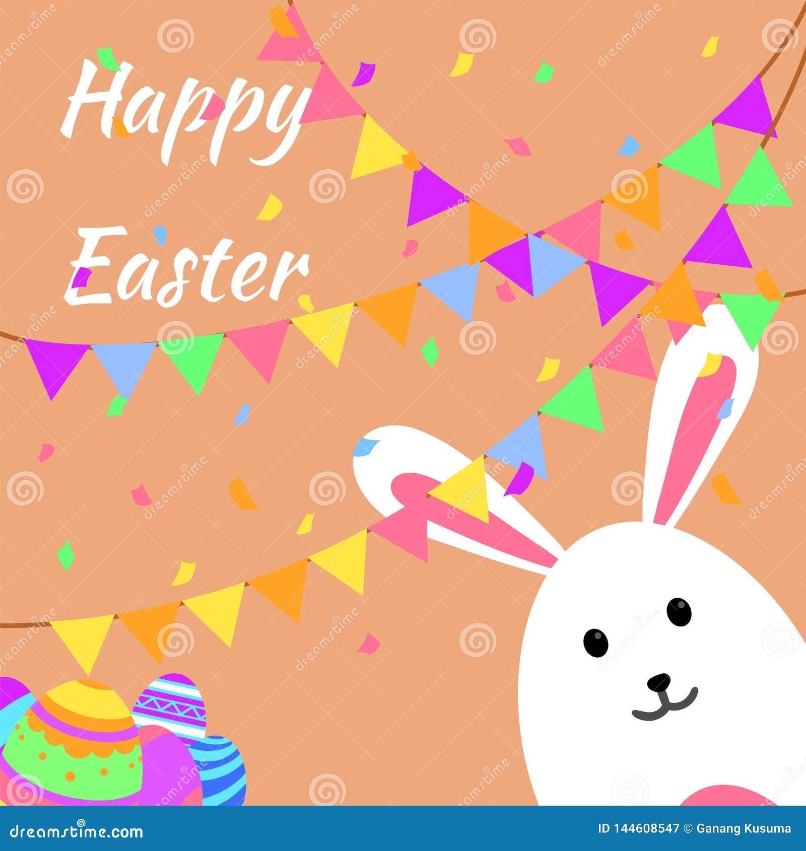 Cartão e partido felizes engraçados e coloridos da Páscoa com coelho, ilustração do coelho, ovos, bandeira, bandeira, partido dos