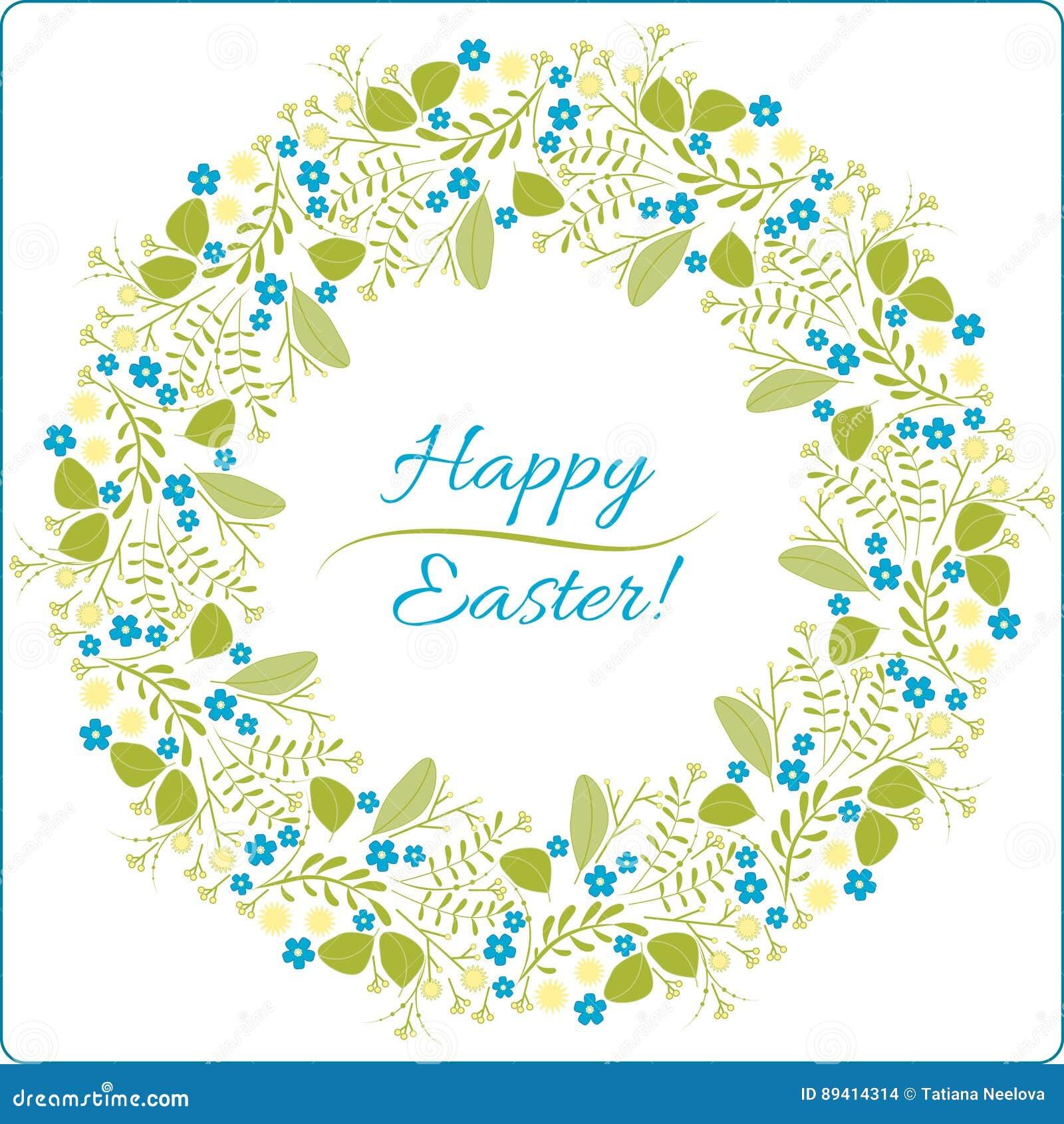 Cartão feliz da Páscoa Vector o desenho, as flores, os botões e as folhas