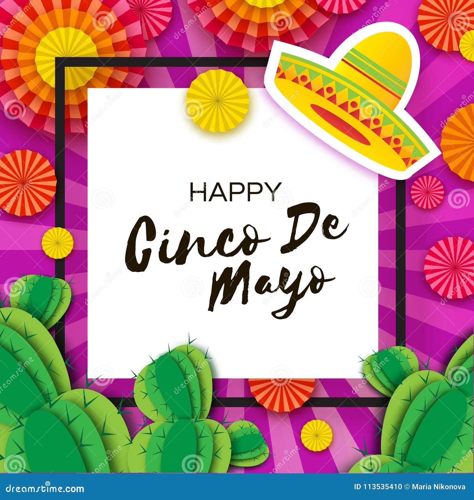 Cartão feliz de Cinco De Mayo Fã e cacto de papel coloridos no estilo do  corte do papel Chapéu do sombreiro do origâmi México 8984fbe91fa