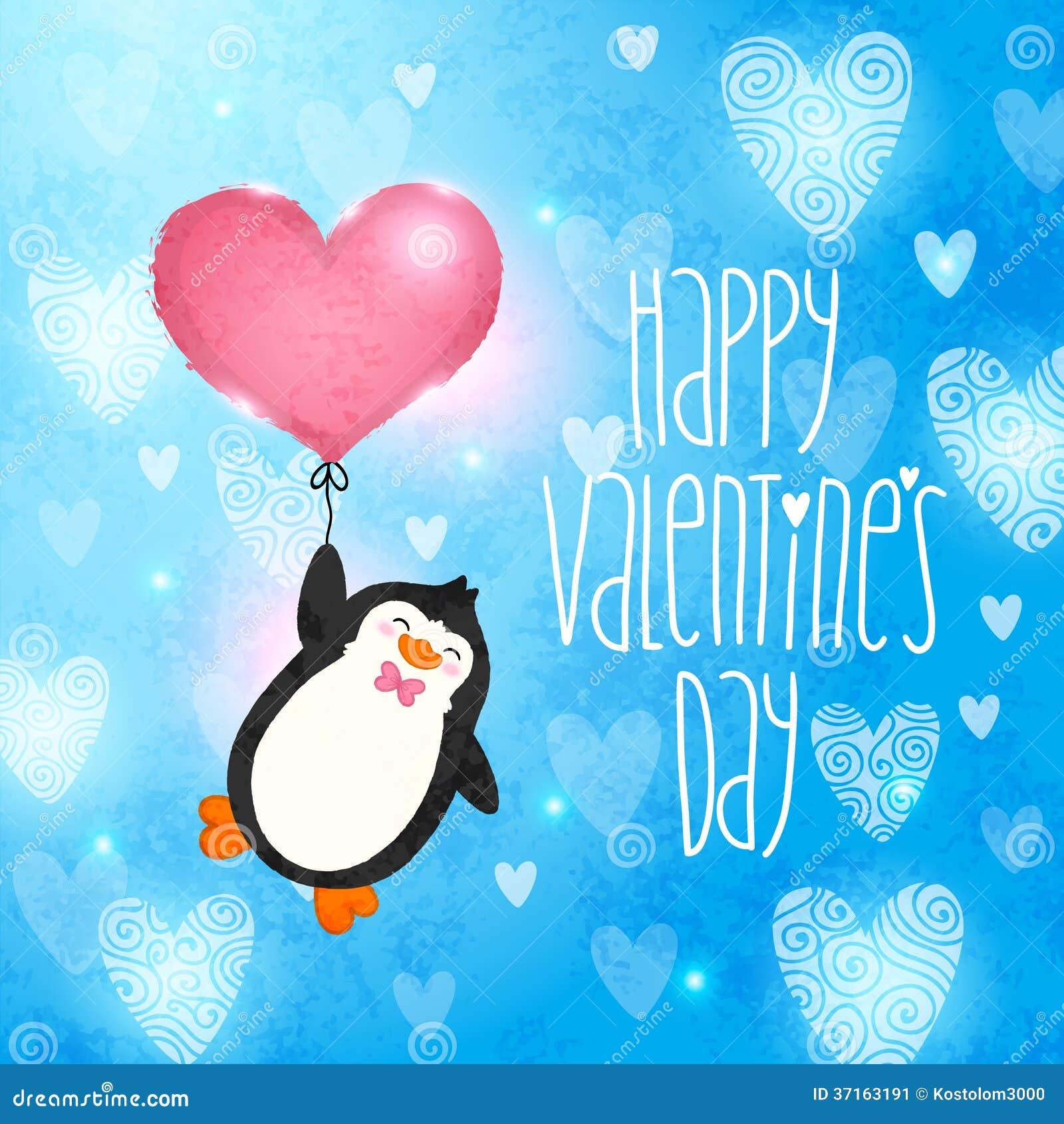 Cartão feliz do dia de Valentim com pinguim