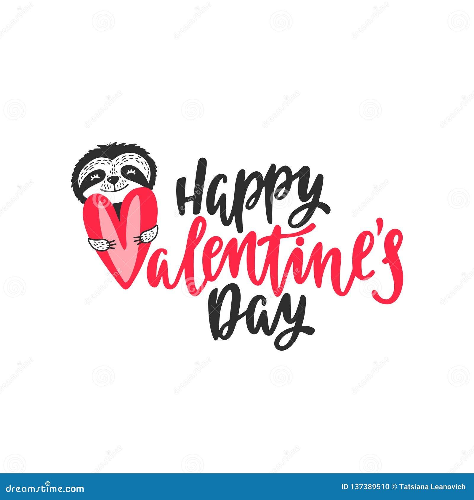 Cartão Feliz Do Dia De Valentim Com Preguiça Bonito E