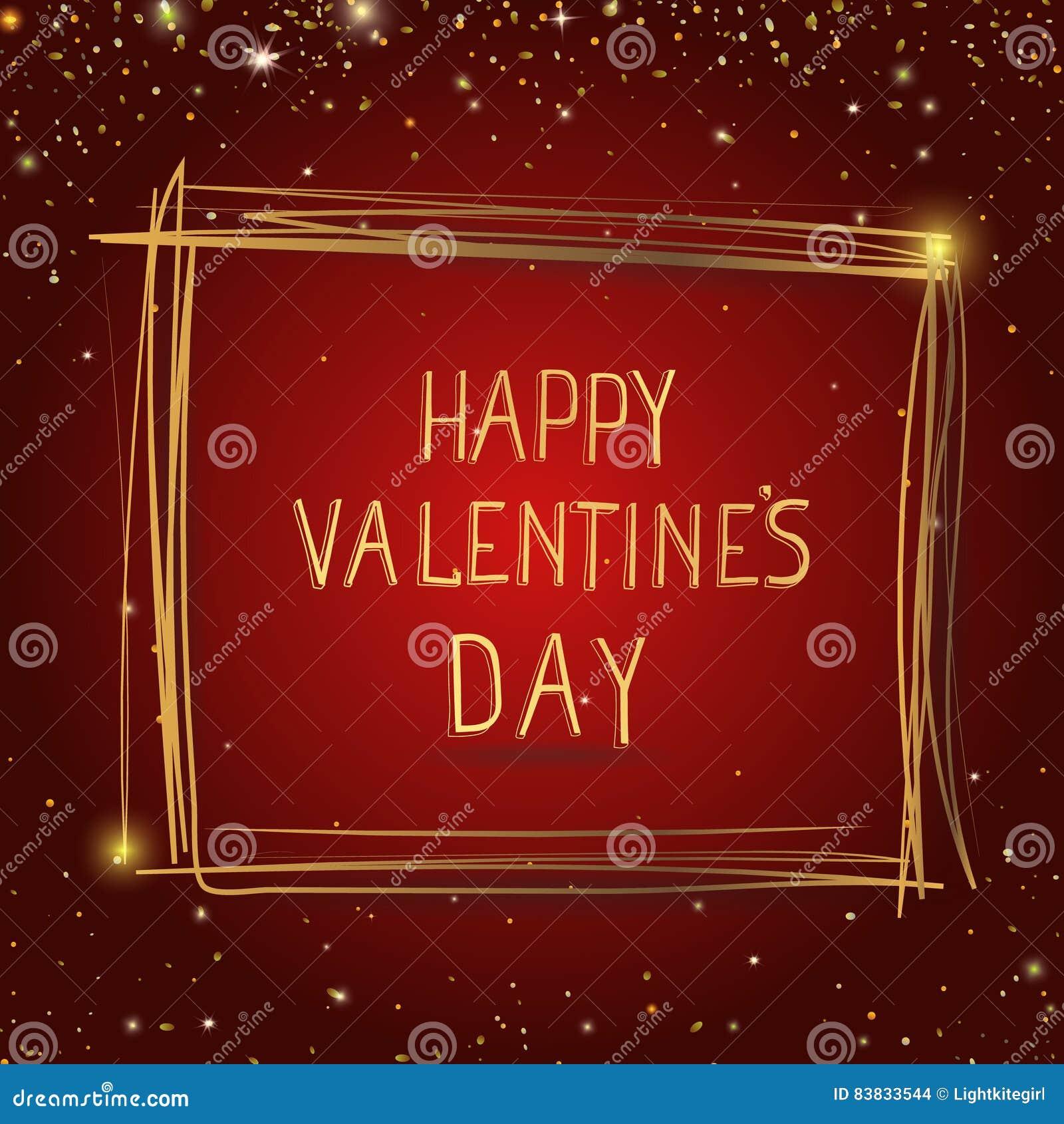Cartão feliz do dia de Valentim Entregue a rotulação tirada com beira do quadro do ouro no fundo vermelho com estrelas, letras do