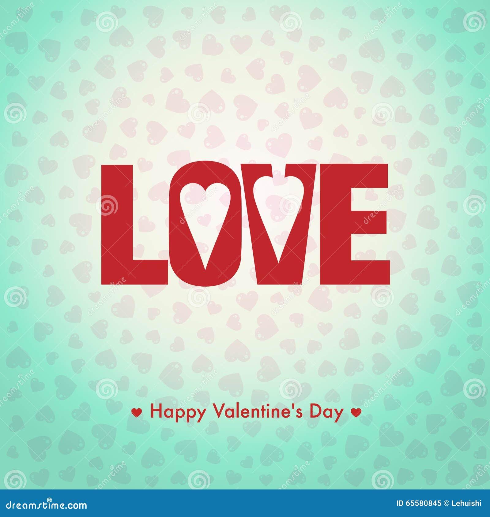 Cartão feliz do dia de Valentim, eu te amo, tipo da fonte