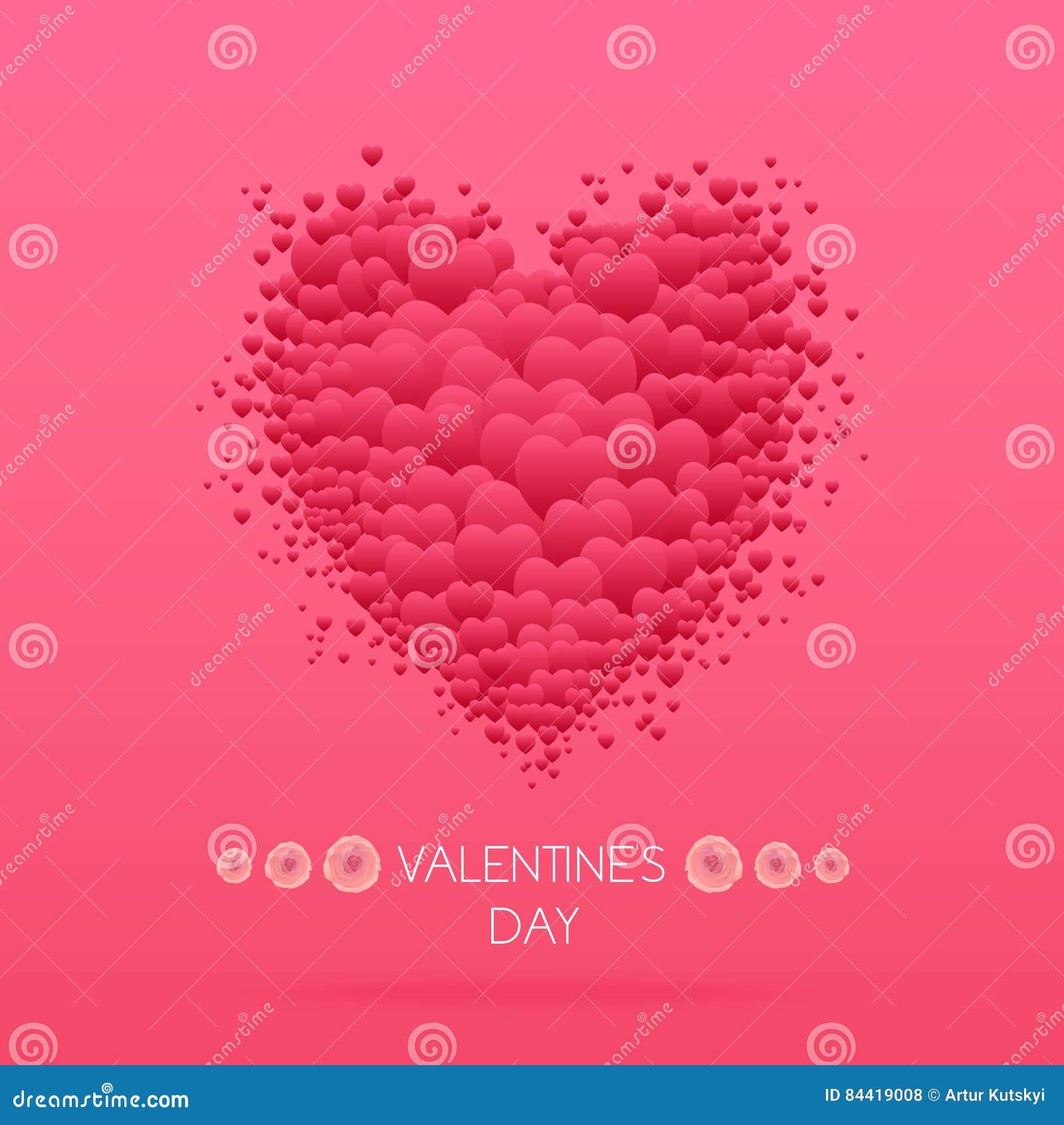 Cartão feliz do dia dos Valentim com corações Vetor de Valentine Love
