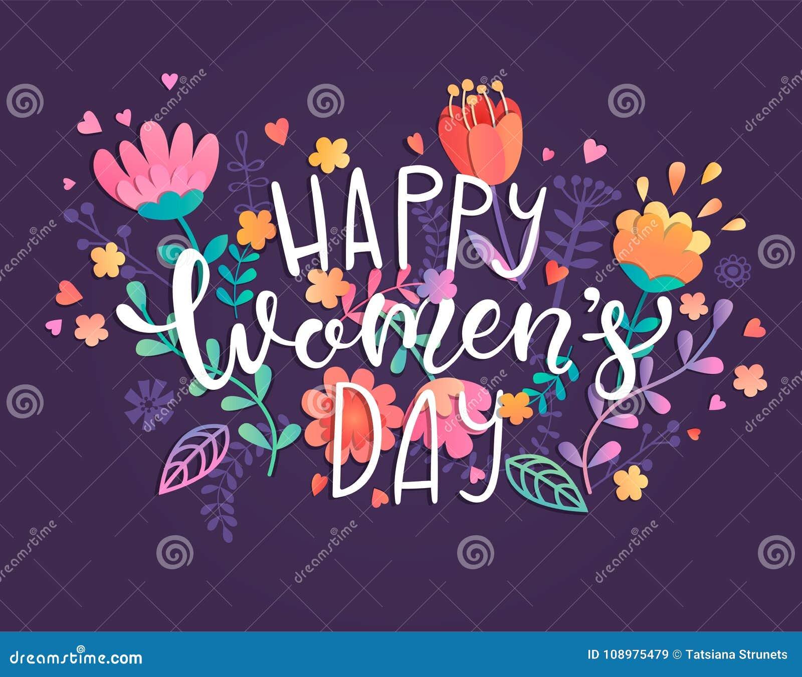 Cartão feliz do dia do ` s das mulheres