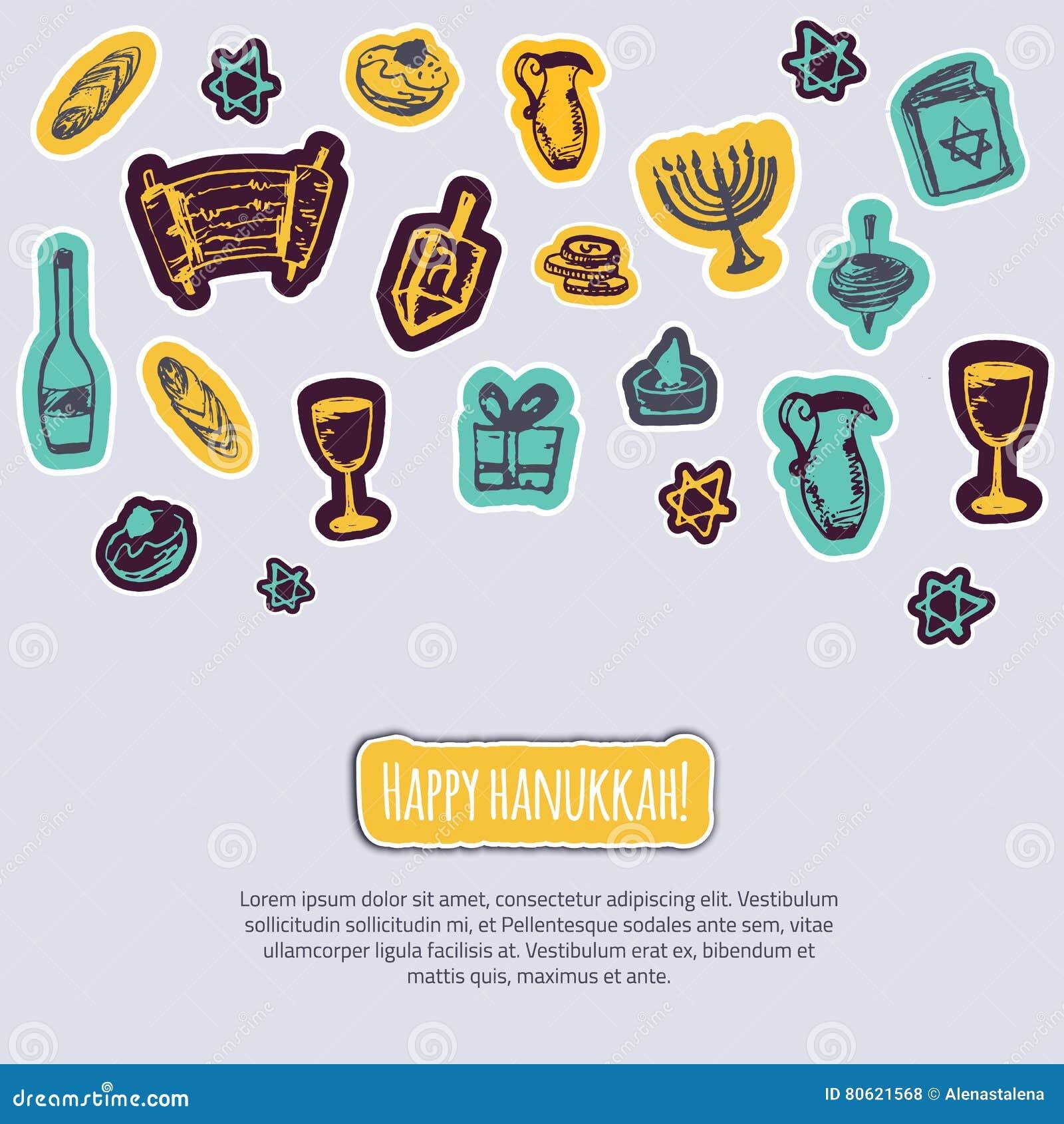 Cartão feliz do Hanukkah com elementos tirados mão e rotulação no fundo cinzento Menorah, Dreidel, vela, hebraico