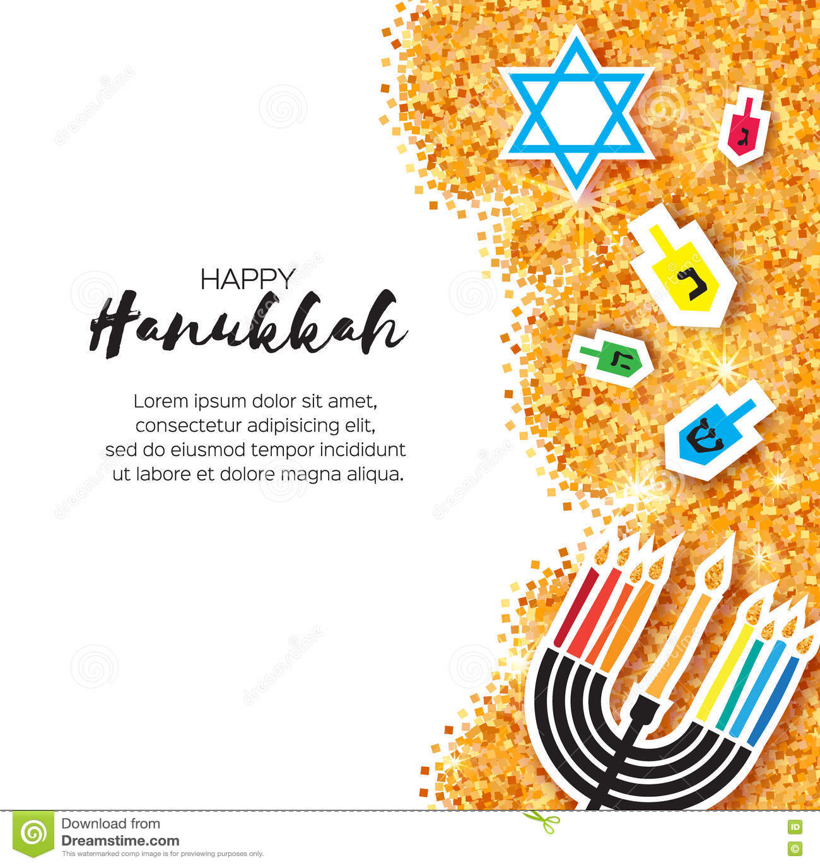 Cartão feliz do Hanukkah do origâmi colorido no fundo do brilho do ouro