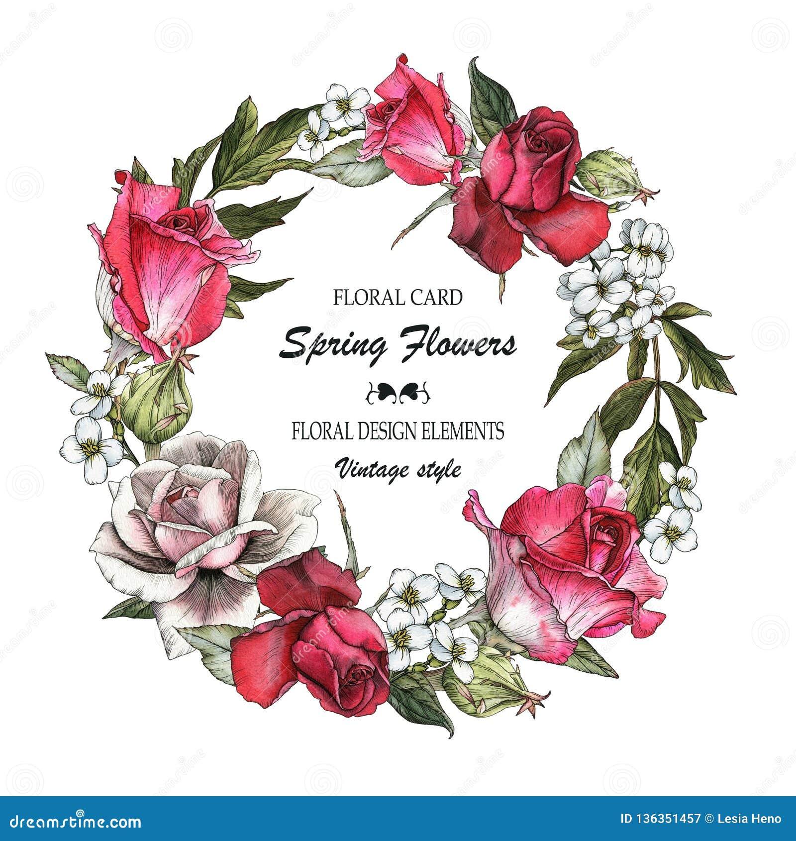 Cartão floral com rosas e jasmim Ramalhete das flores