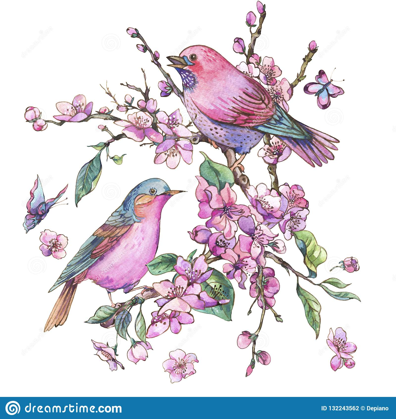 Cartão floral da mola da aquarela, ramos de florescência cor-de-rosa o