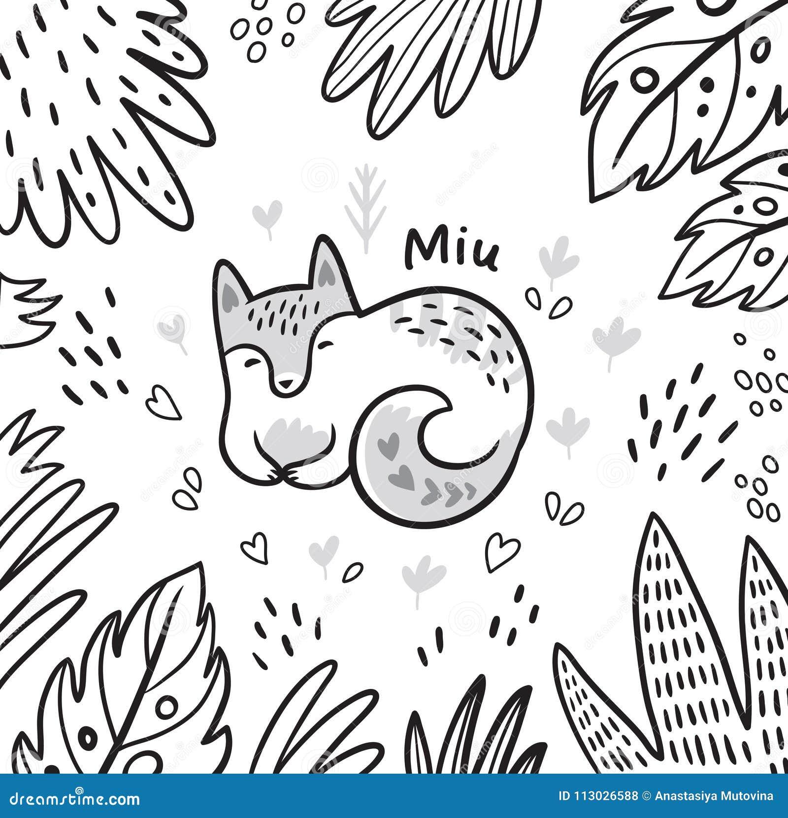 Cartão floral do contorno preto e branco com raposa ou gato dos desenhos animados nas folhas Ilustração do vetor