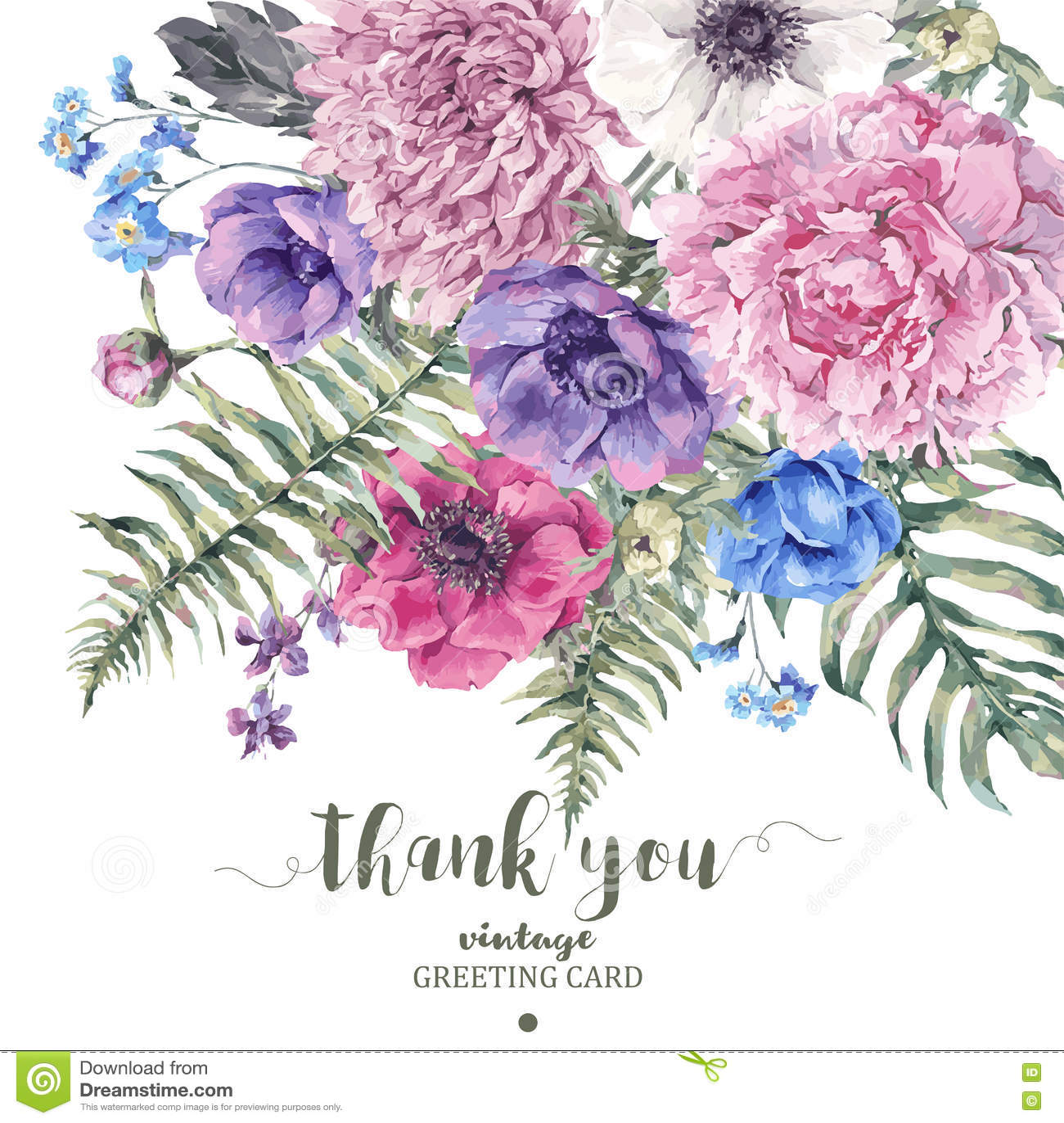 Cartão floral do vintage com anêmonas