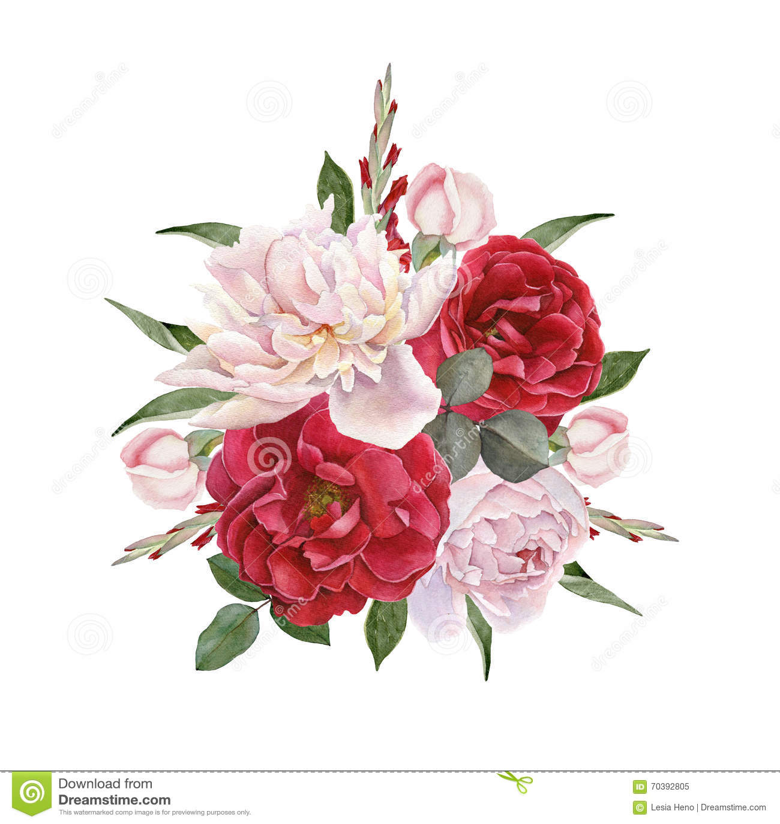 Cartão floral Ramalhete de rosas da aquarela e das peônias brancas