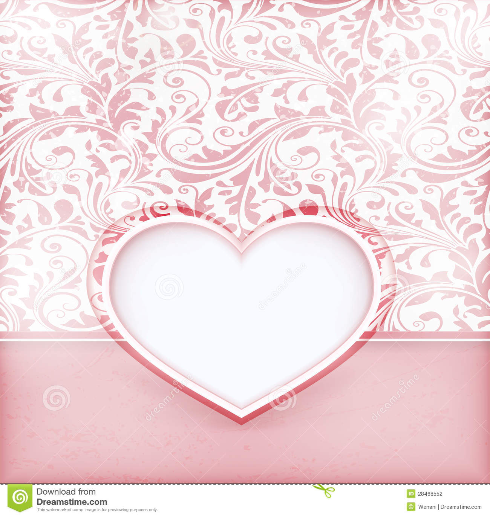 Cartão floral sujo do convite com etiqueta do coração do amor