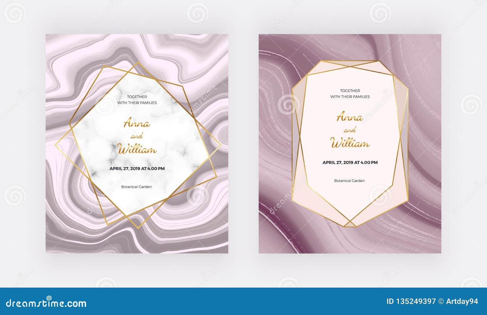 Cartão líquido do convite do casamento do ouro de Rosa com quadro de mármore e linhas douradas Teste padrão do sumário da pintura