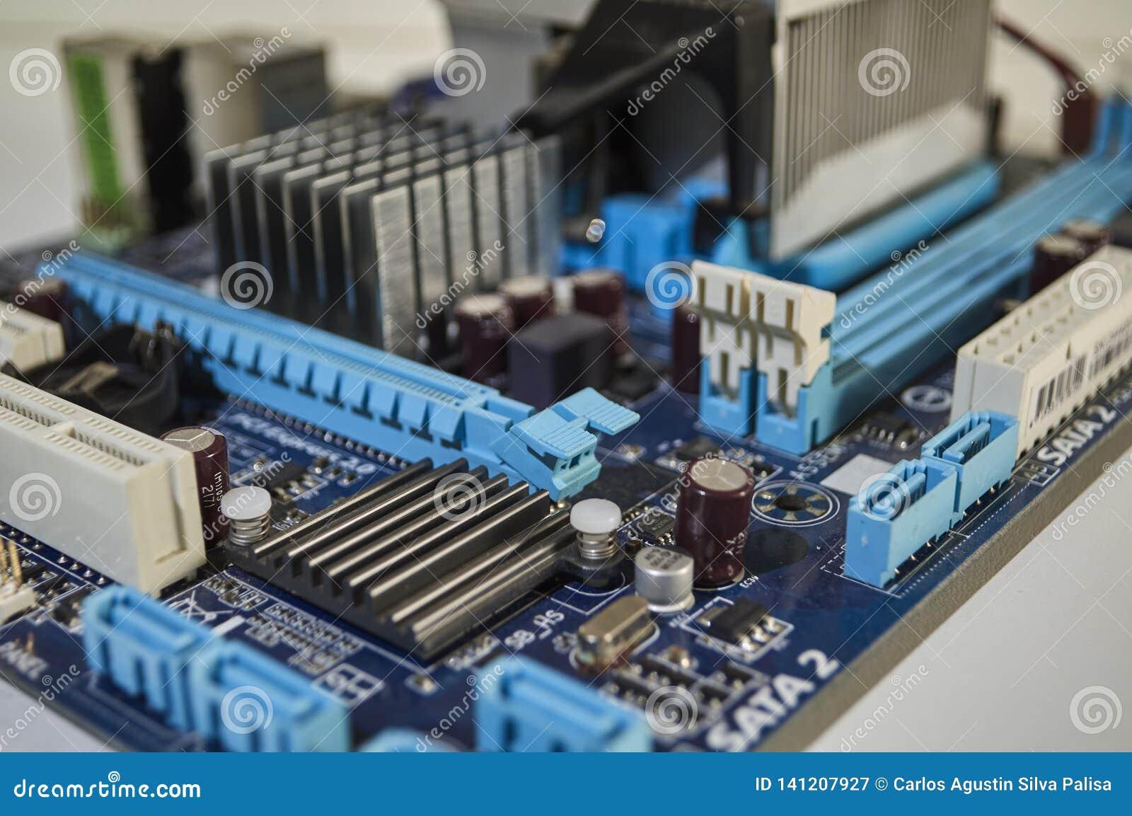Cartão-matriz azul do PC, componente de computador