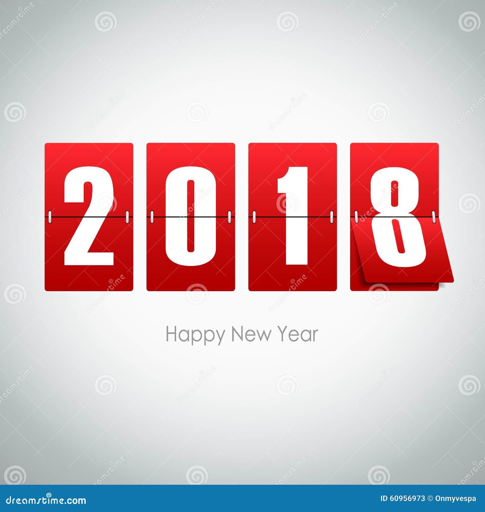 Cartão 2018 no fundo cinzento