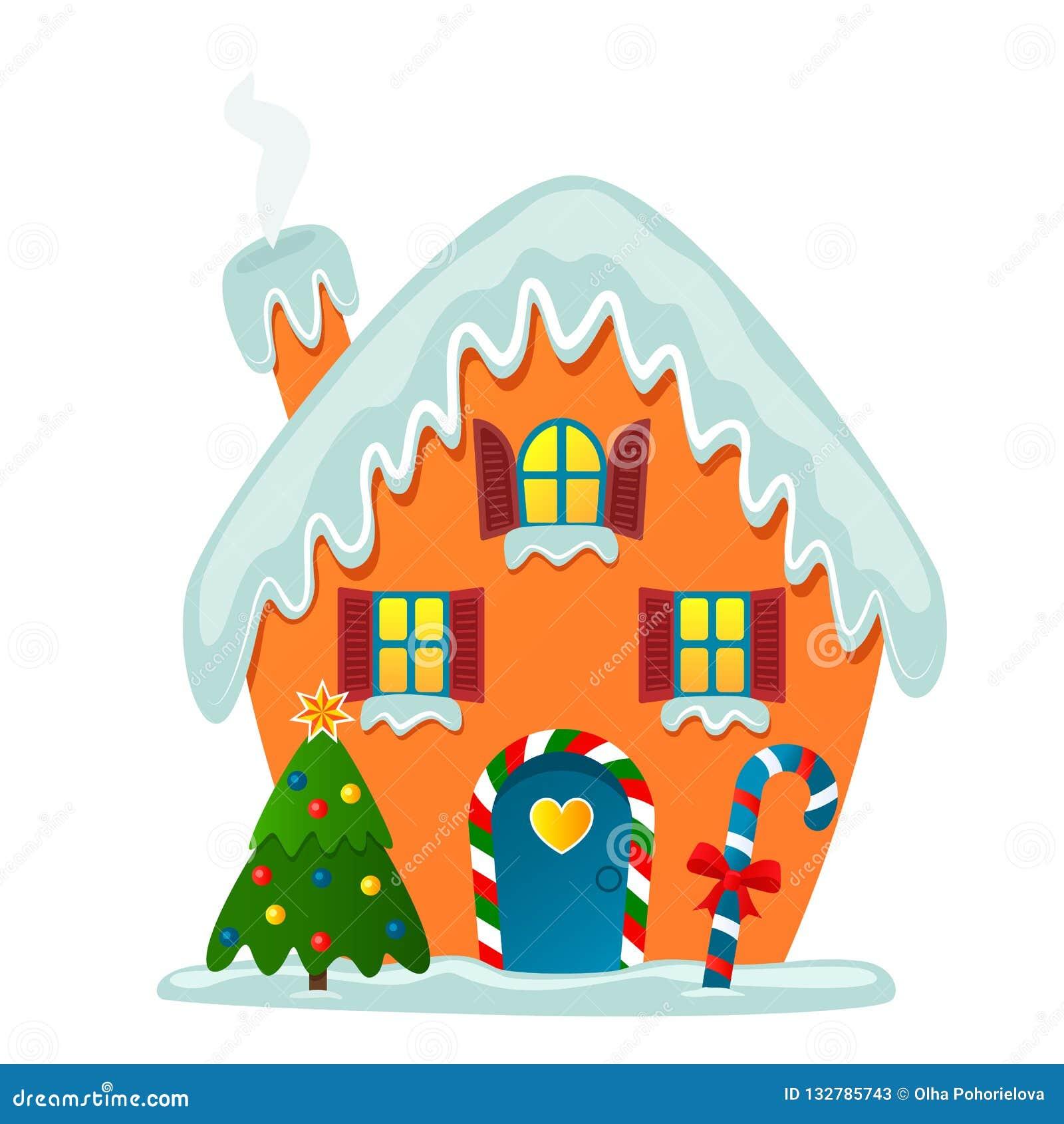 Cartão ou bandeira A casa fantástica e bonito de Santa na neve com uma árvore e um caramelo de Natal gingerbread