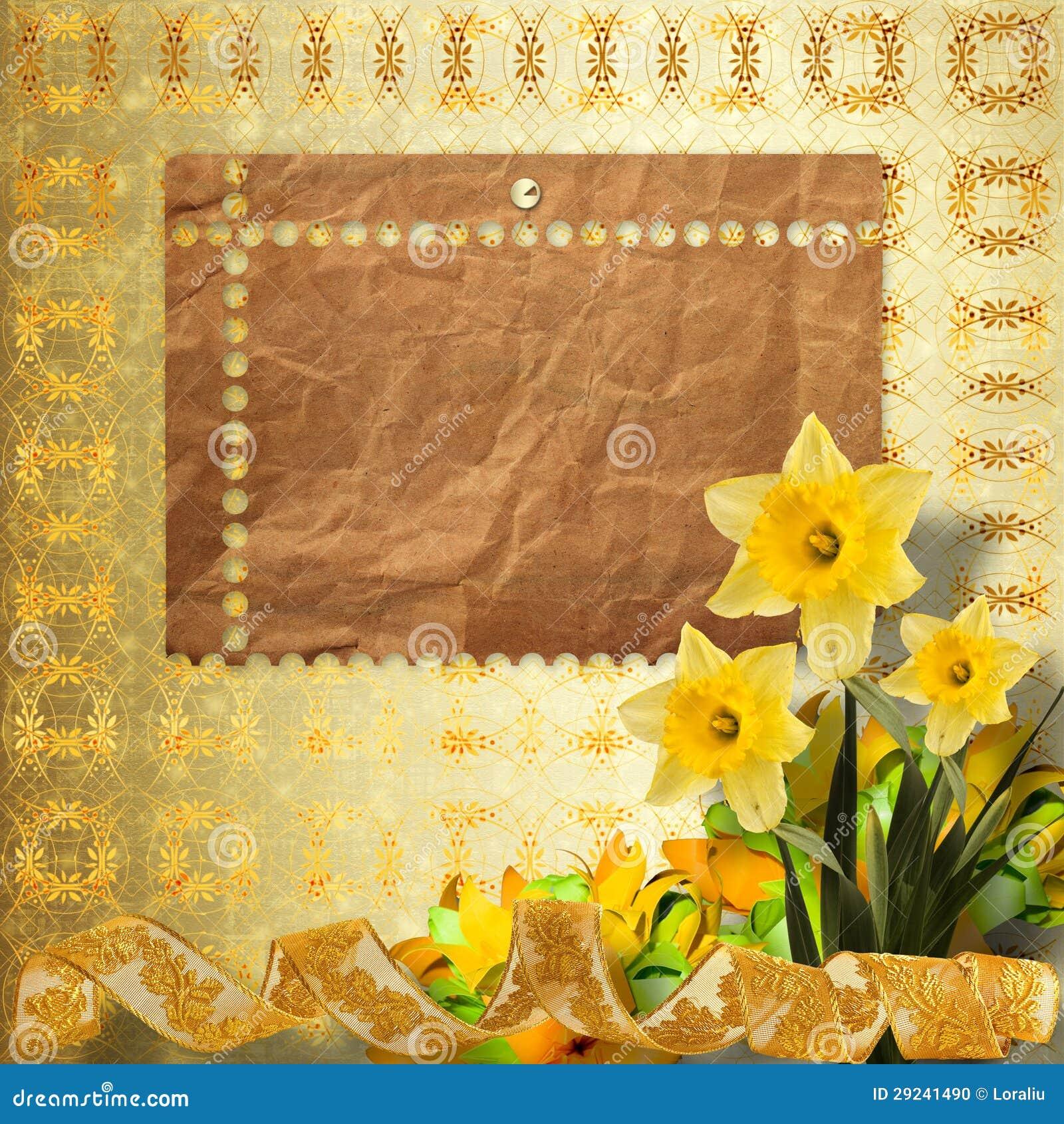 Download Cartão Para O Convite Com O Ramalhete Do Narciso Das Flores Ilustração Stock - Ilustração de bouquet, lacy: 29241490
