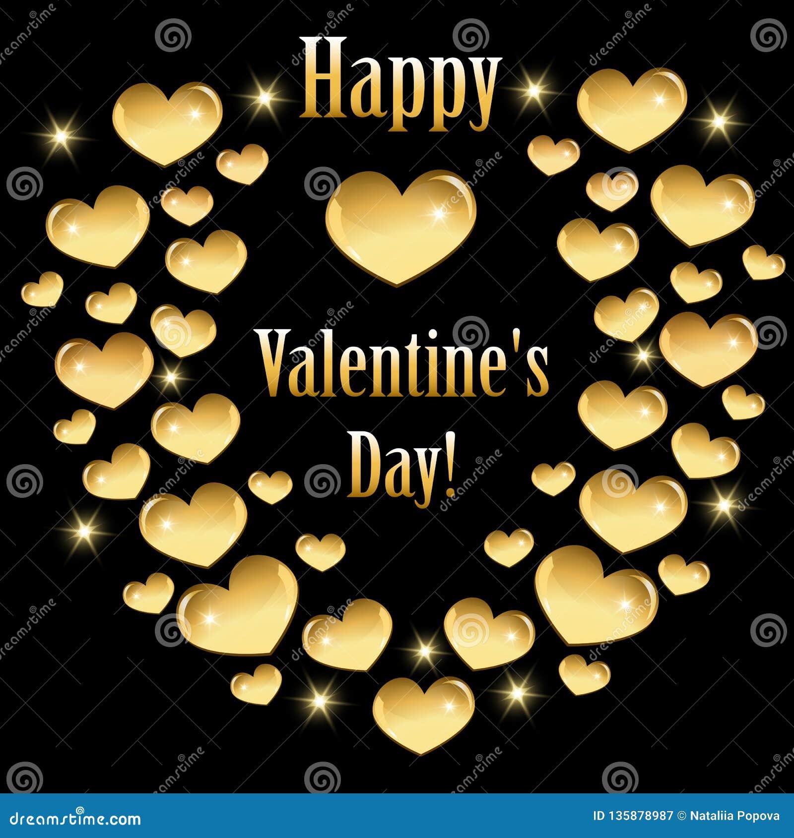 Cartão para o dia de Valentim com corações dourados
