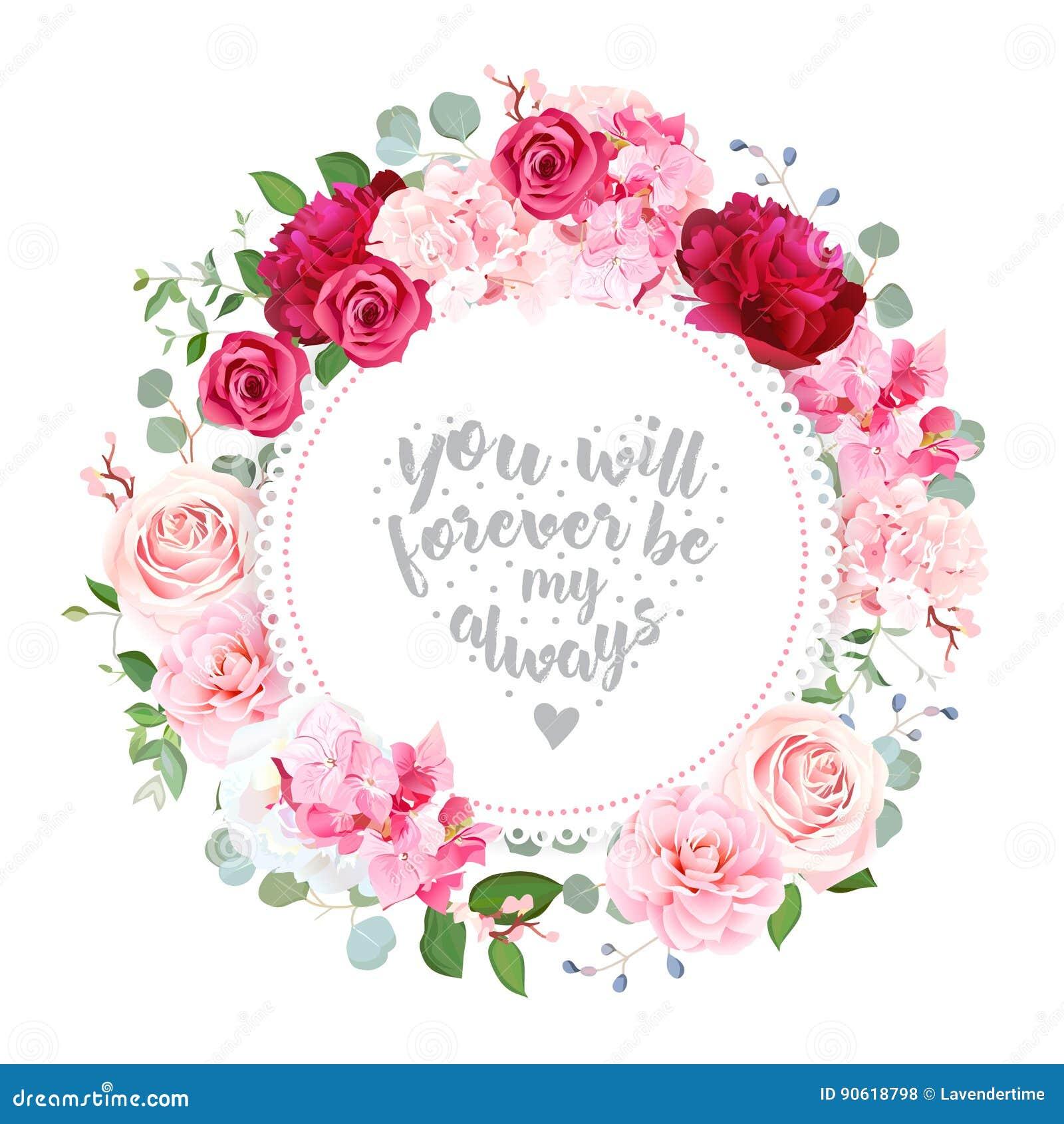 Cartão redondo do projeto floral romântico do vetor do casamento