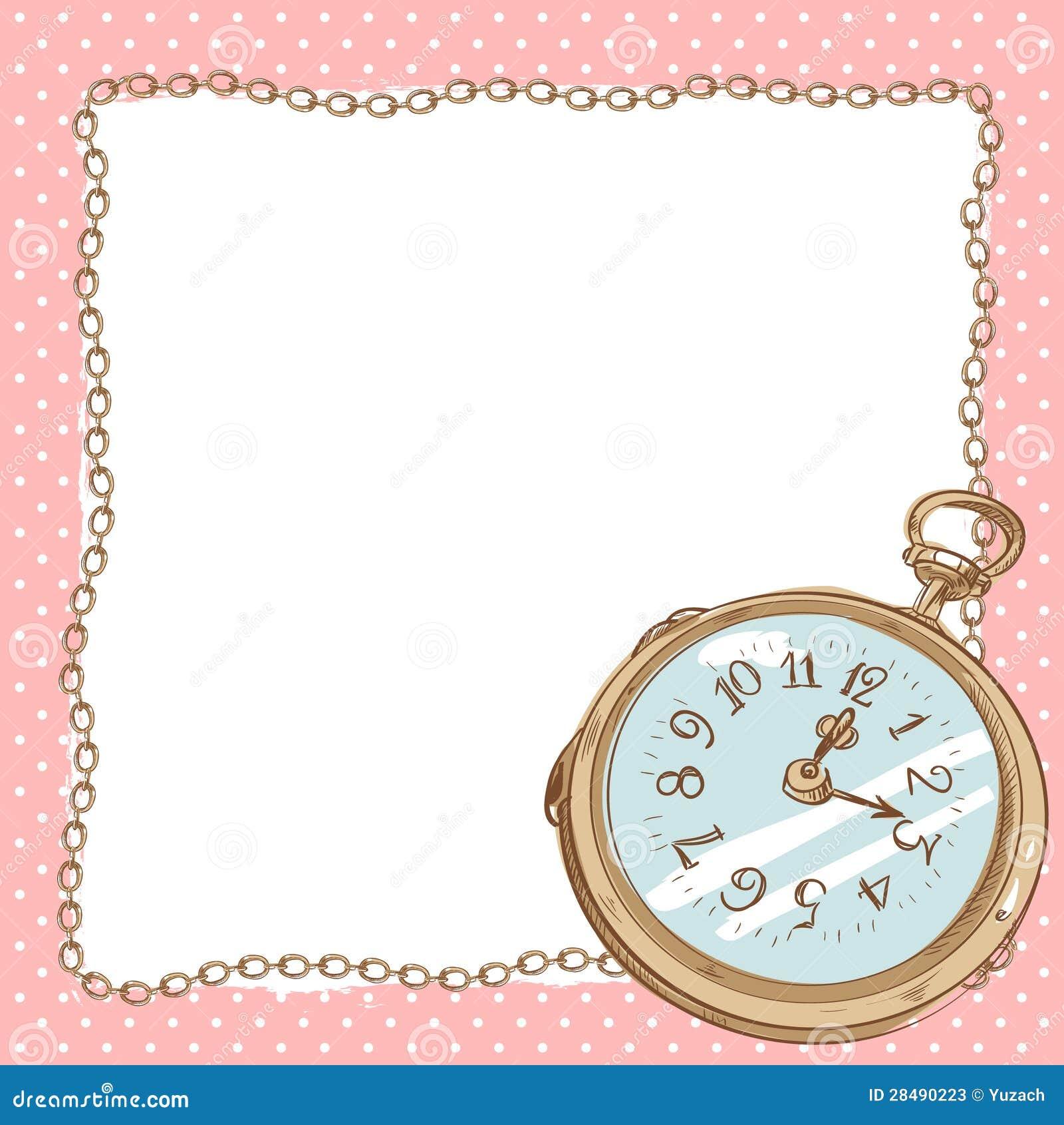 92b0ed28b1a Cartão romântico bonito com o relógio de bolso antigo com beira da corrente  do vintage com espaço vazio para o texto em um fundo do às bolinhas