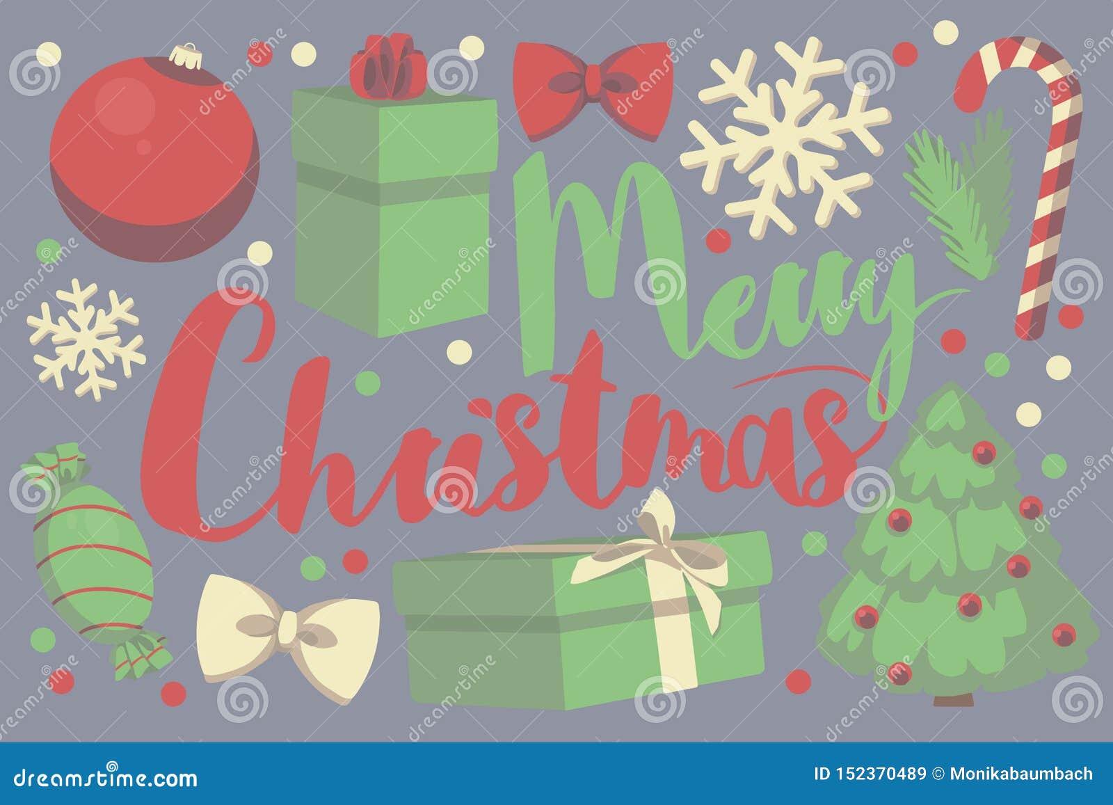 Cartão sazonal do Feliz Natal vermelho e verde da tipografia do vetor com caixa de presente, quinquilharia do Natal, floco da nev