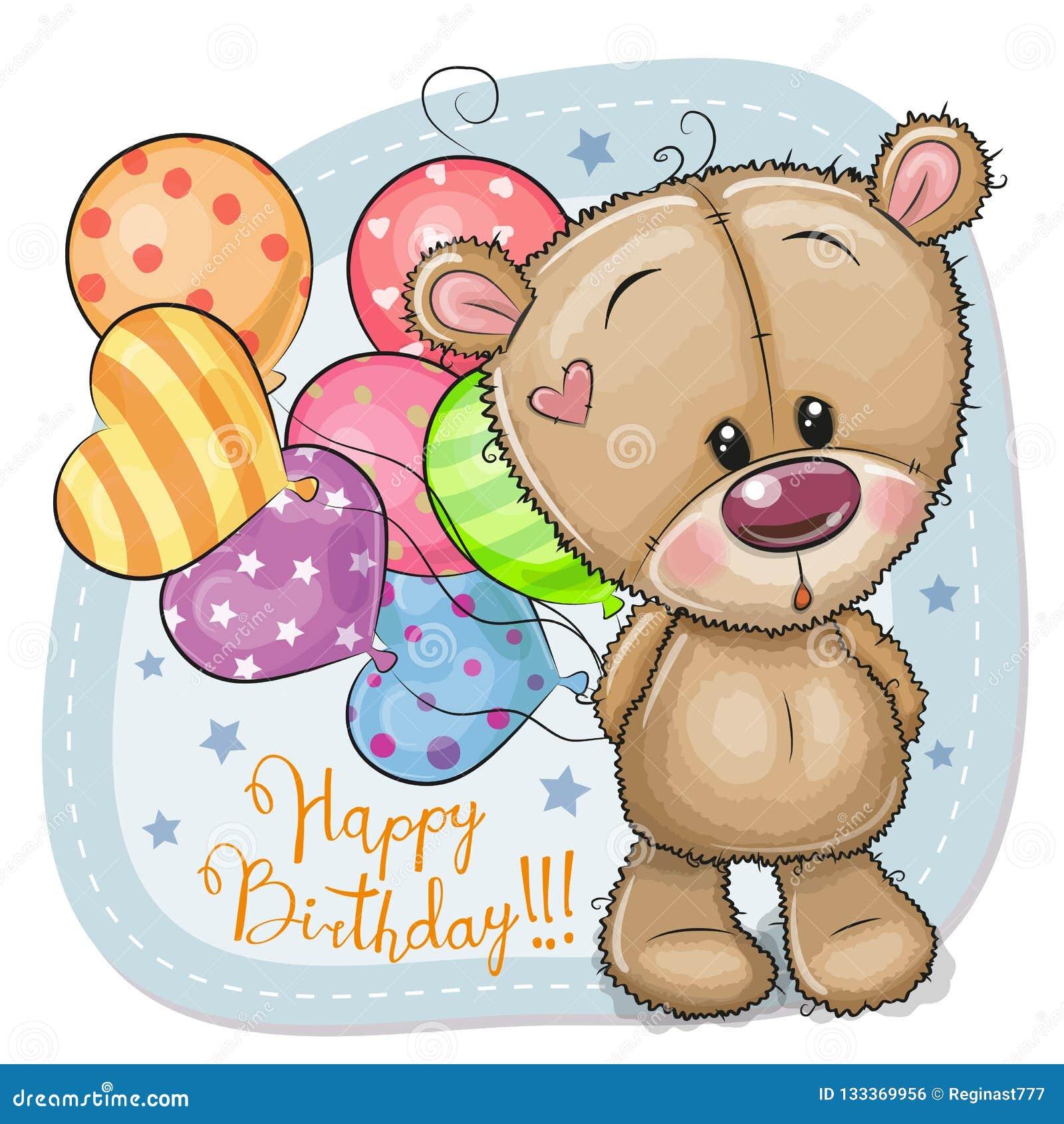 Cartão Teddy Bear com balões