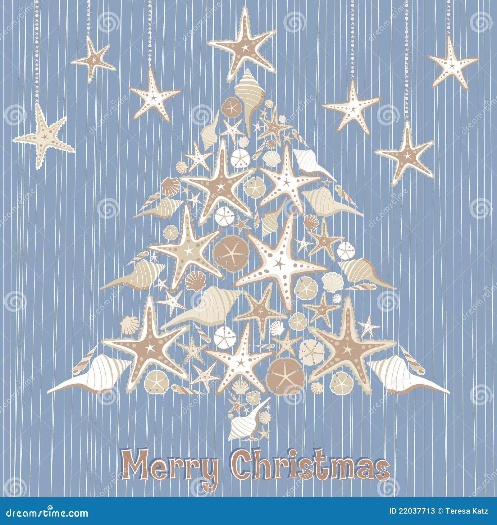 Cartão tropical da árvore de Natal do Seashell