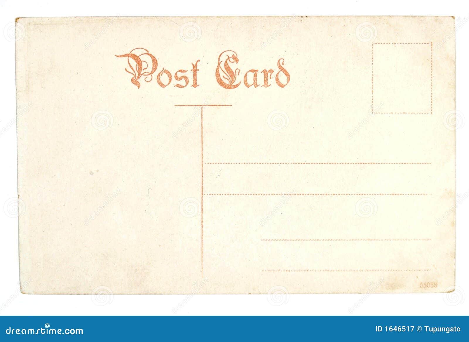 Cartão vazio antigo velho