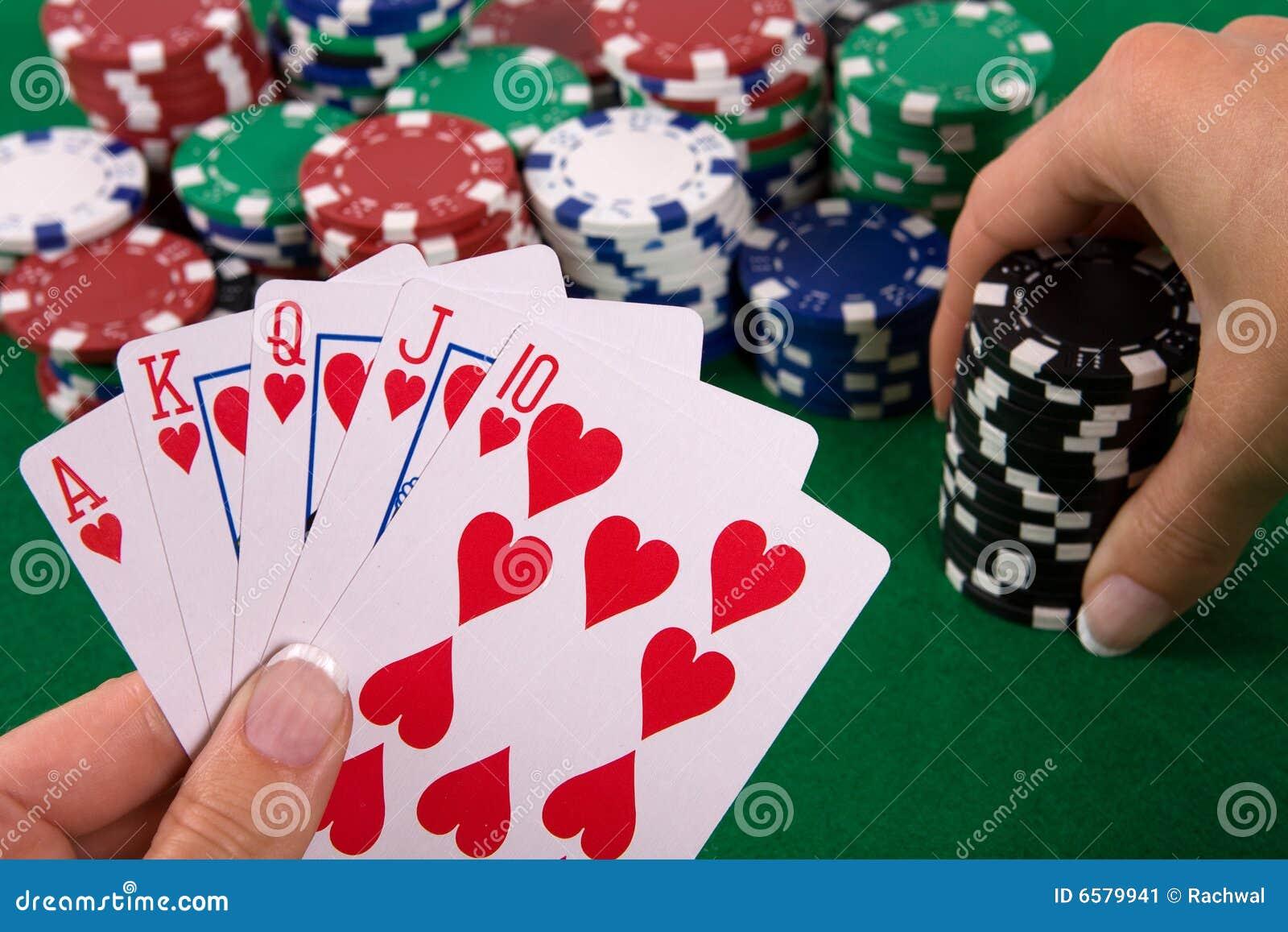 Cartões com arranjo do póquer