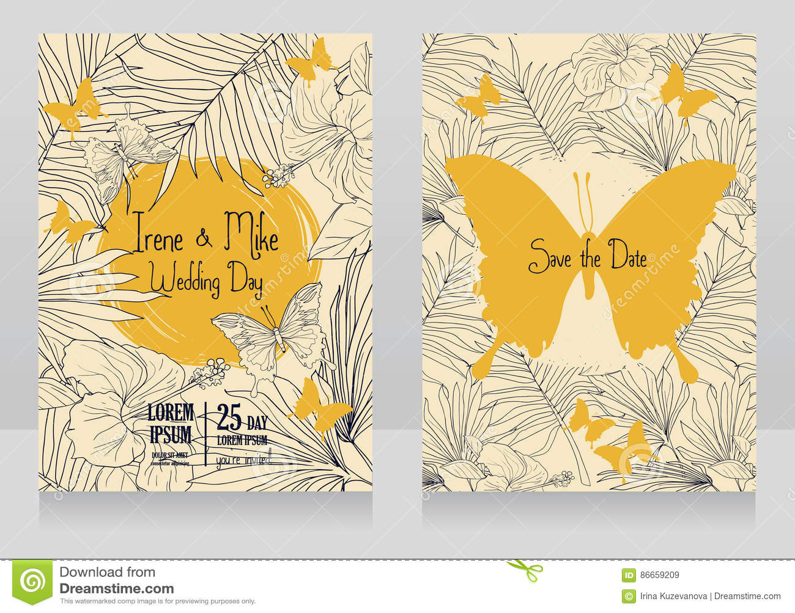 Cartões De Casamento: Cartões De Casamento Com Flores, As Borboletas E Folhas De