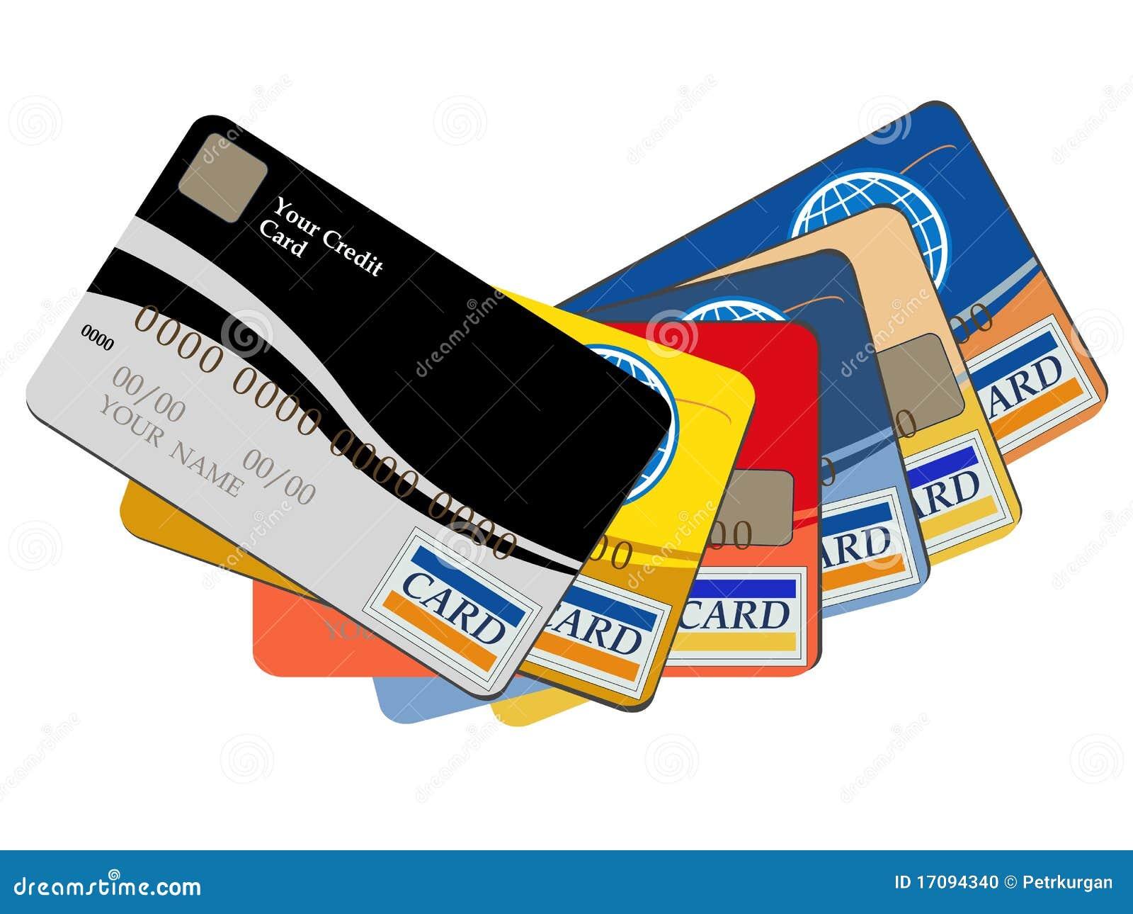 Cartões de crédito da operação bancária