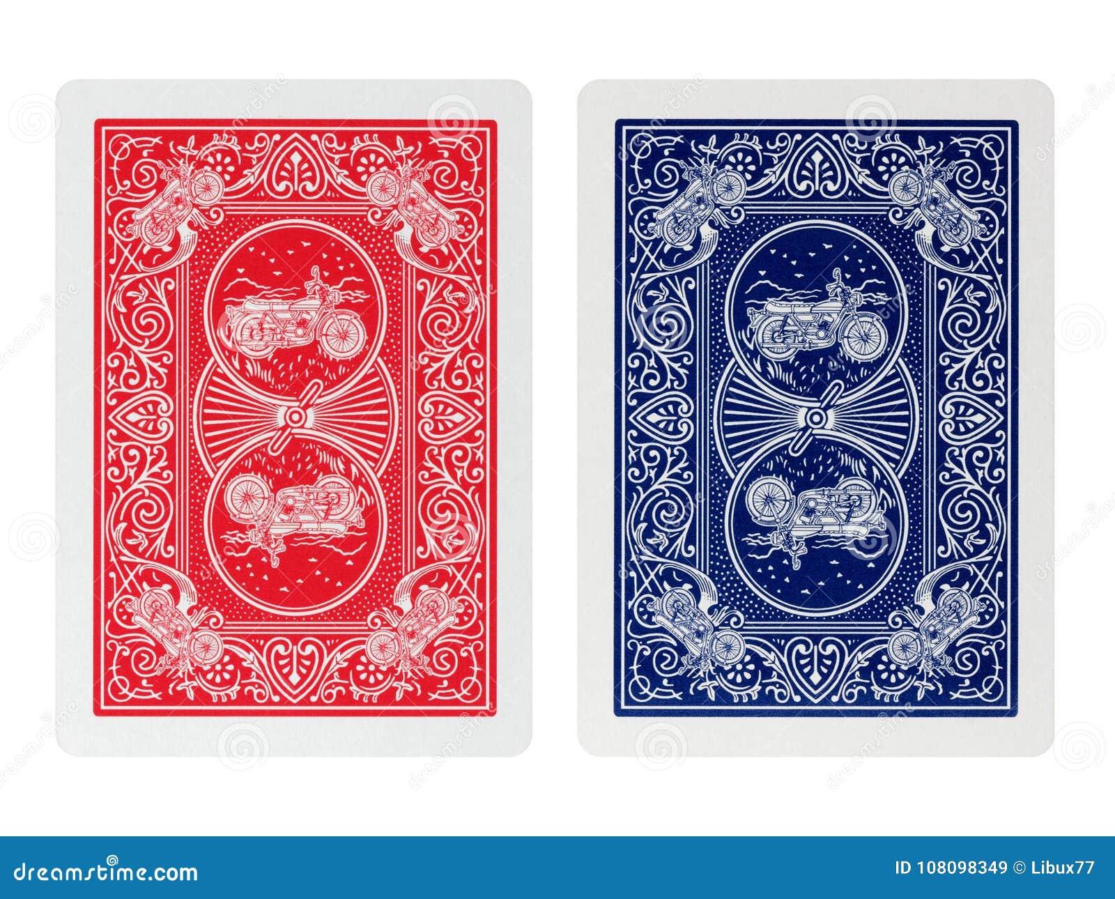 Cartões de jogo do pôquer do verso isolados