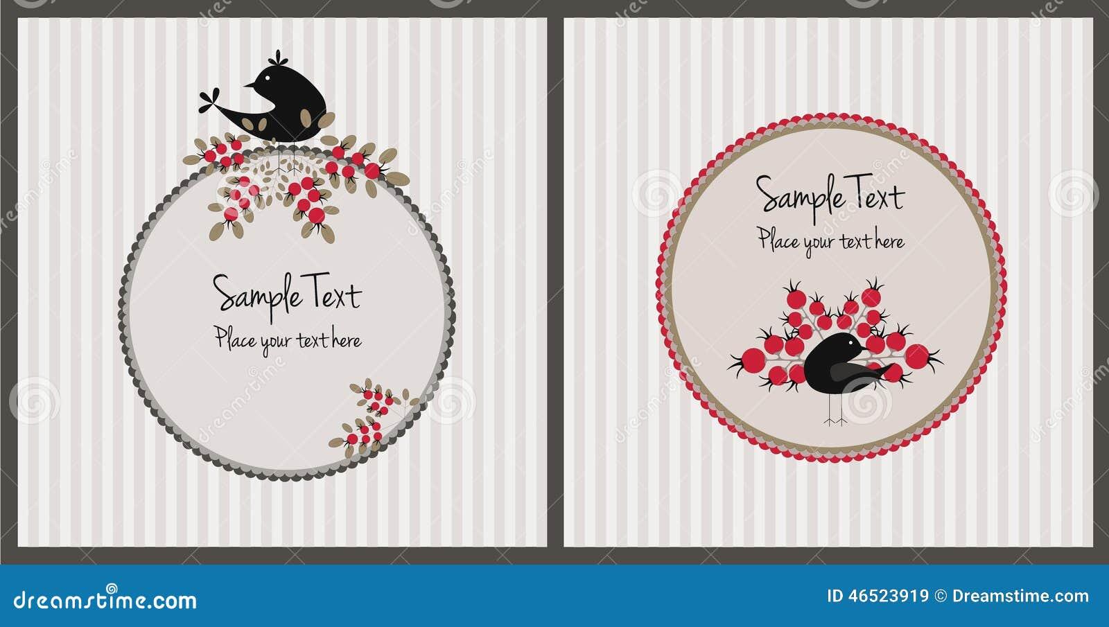Cartões de Natal com pássaros e bagas
