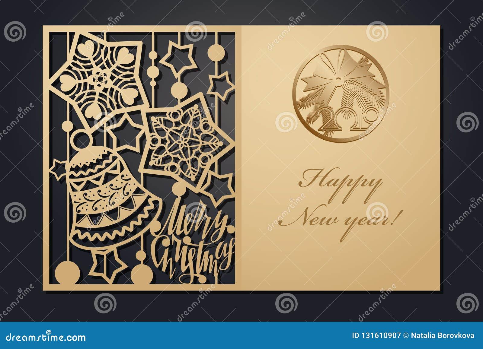 Cartões de Natal do molde para o corte do laser Através da imagem de ano novo da silhueta Ilustração do vetor
