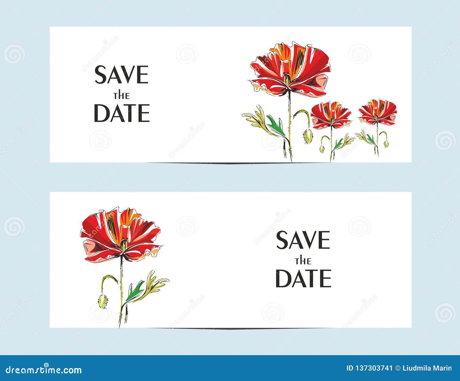 Cartões do convite com uma papoila vermelha para seu projeto