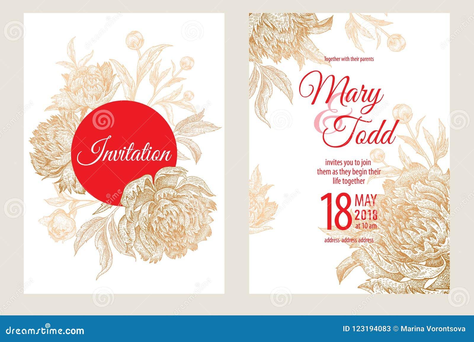 cartões dos moldes dos convites do casamento com peônias das flores