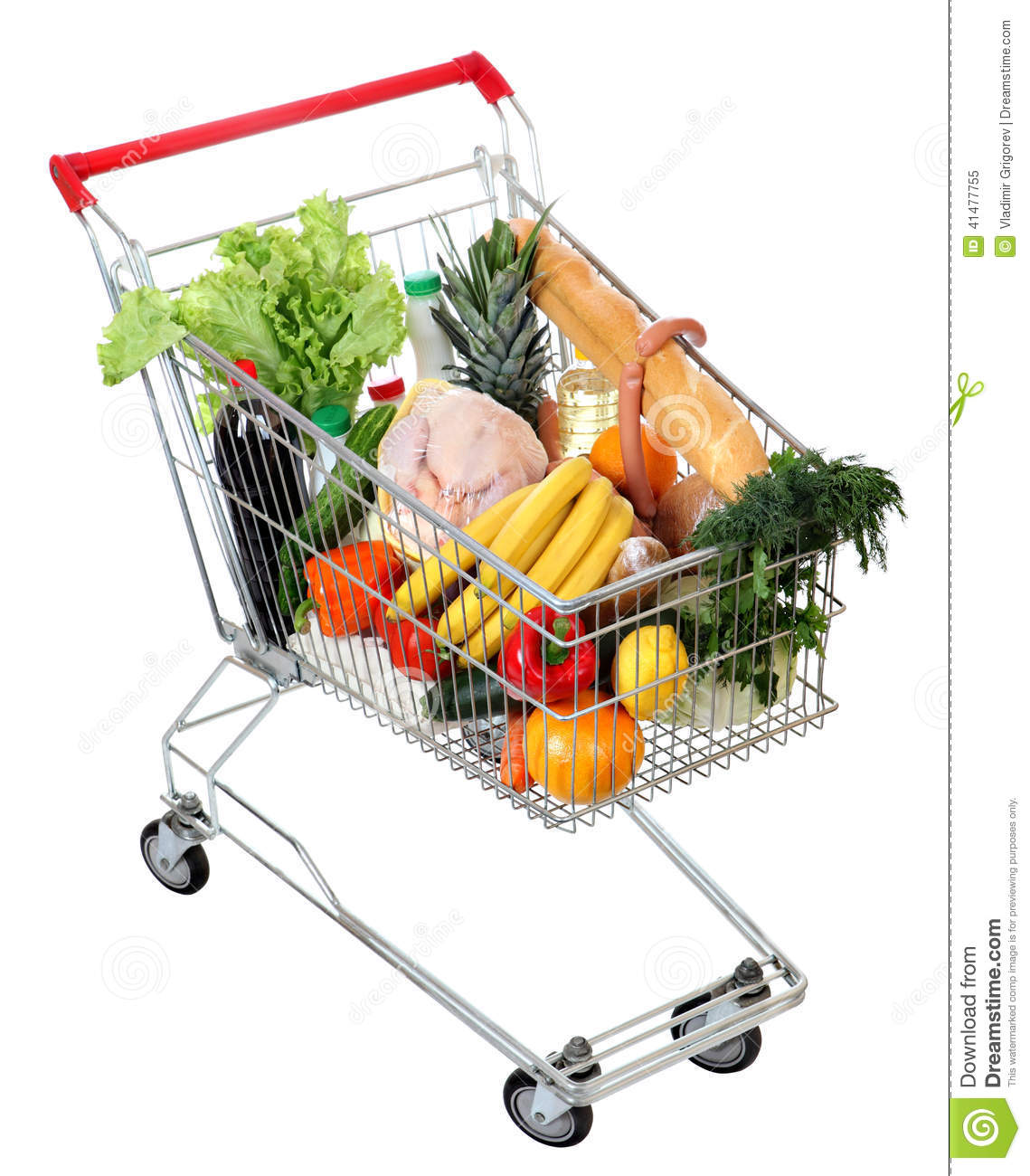 Cart full of food, isolated image on white background