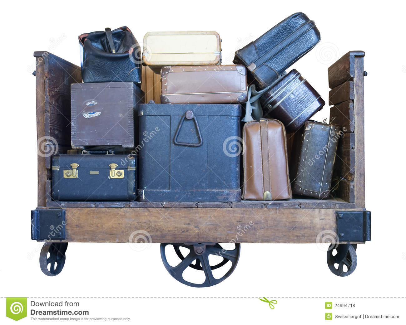 United Baggage Prices Cart Full Of Old Fashioned Luggage Royalty Free Stock