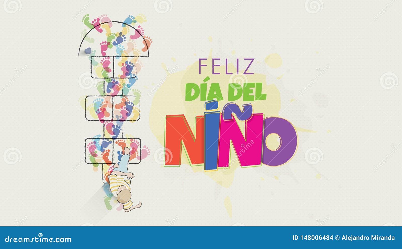 Cart?o de Feliz Dia del Nino - o dia das crian?as felizes na l?ngua espanhola O desenho da criança visto de cima de começar salta