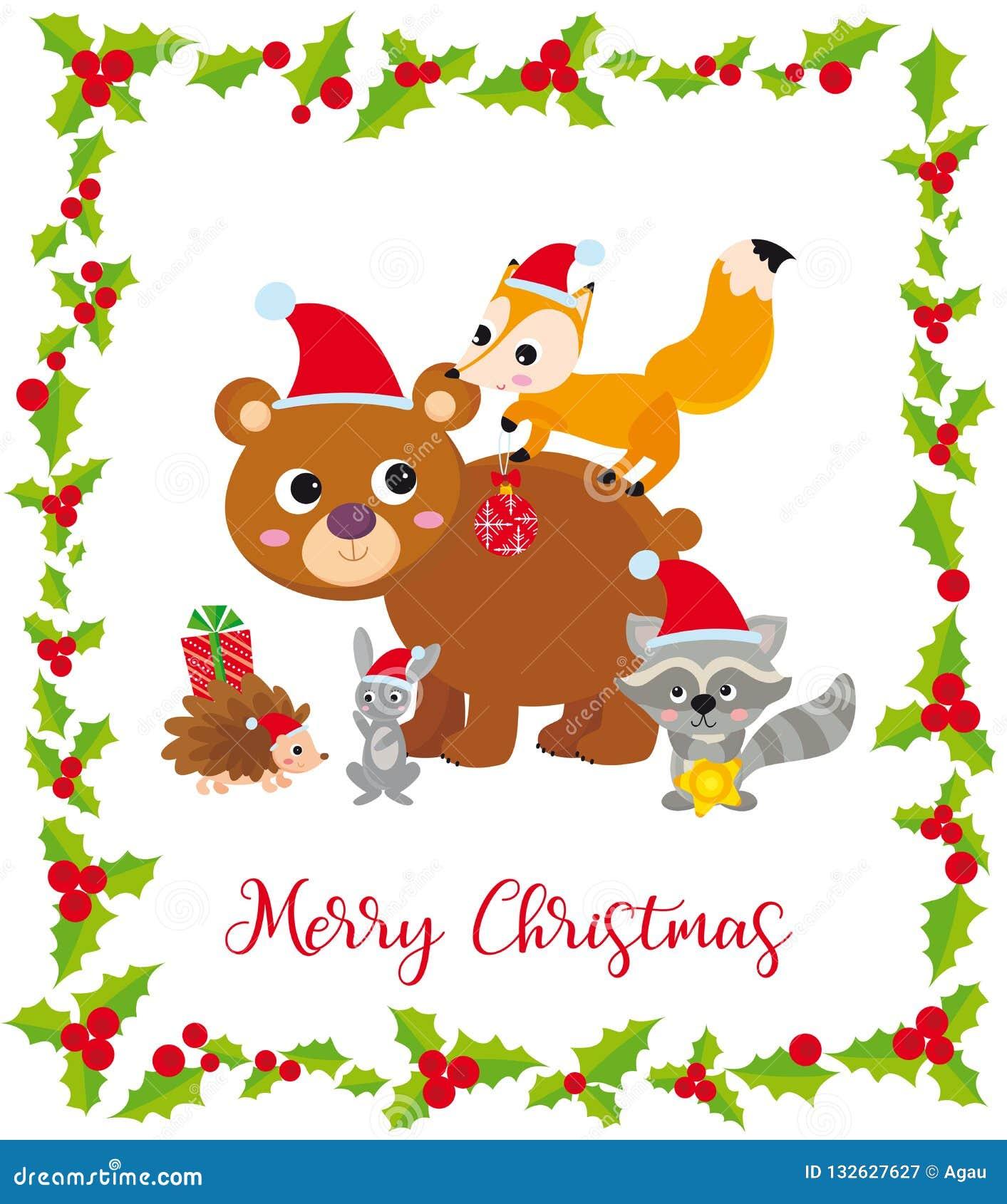 Cart?o de Natal bonito com animais selvagens e quadro
