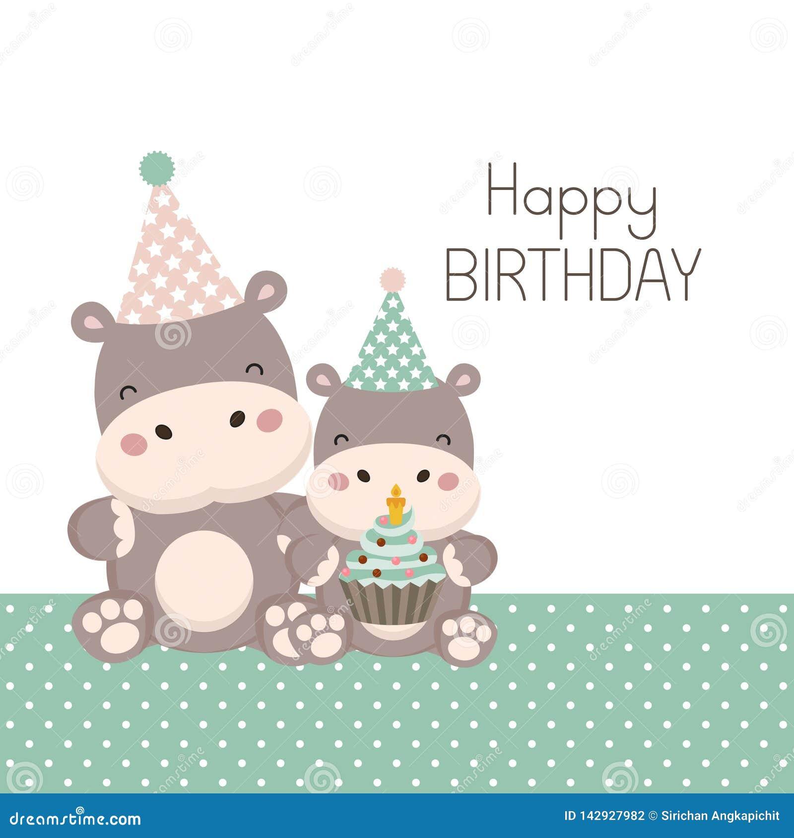 Cart?o do feliz aniversario com desenhos animados bonitos do hipop?tamo