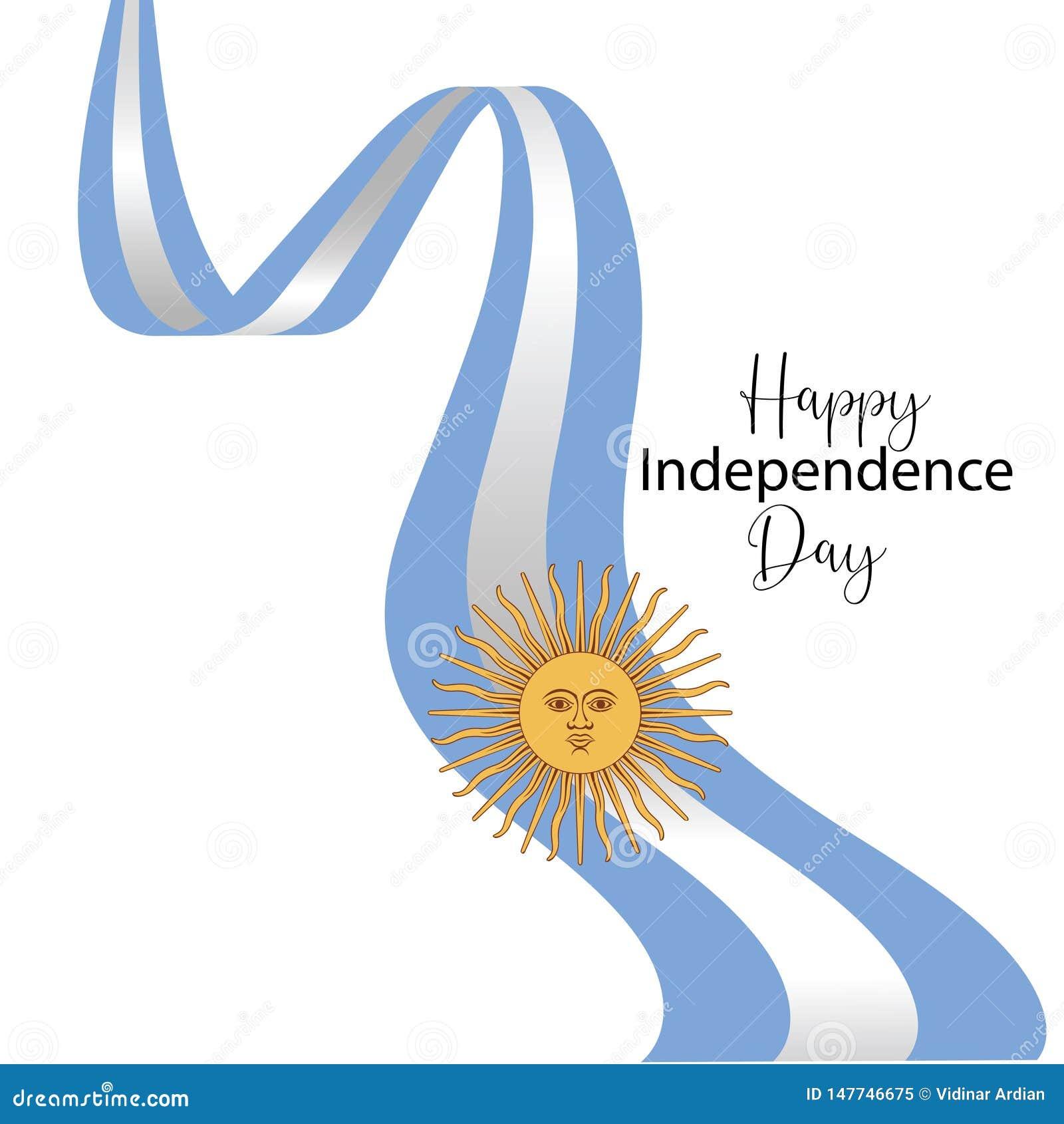 Cart?o feliz do Dia da Independ?ncia de Argentina, bandeira, ilustra??o do vetor - vetor
