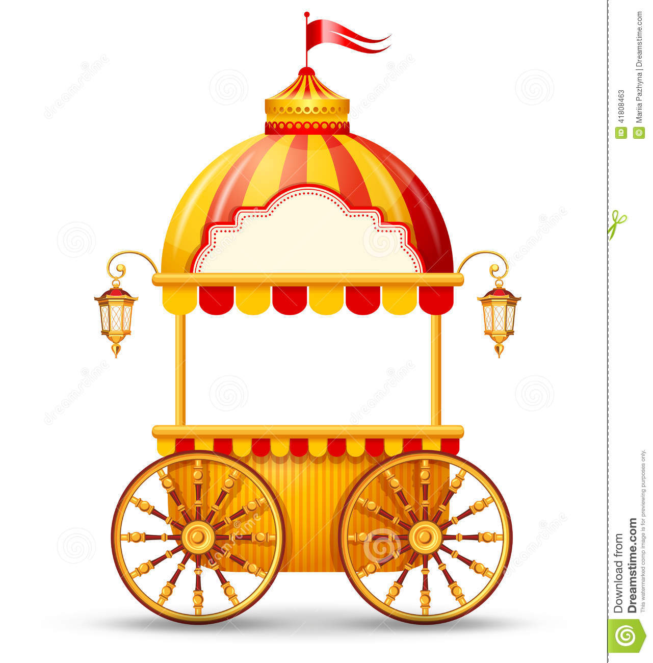 Brightly colored cart stall for fast food street trading. Vector ...