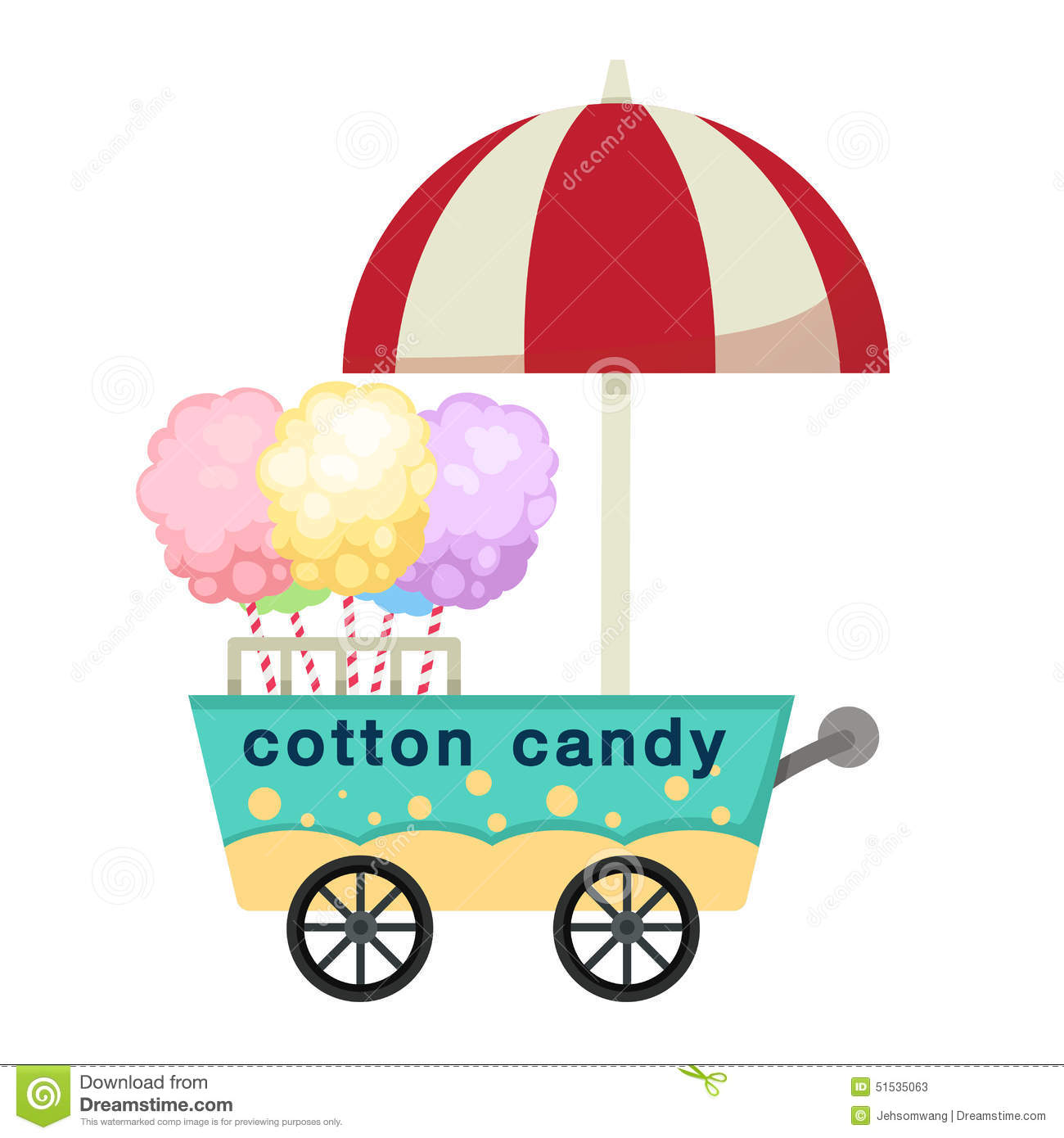 Cotton Candy Sign: Cart Stall And Cotton Candy Vector Stock Vector