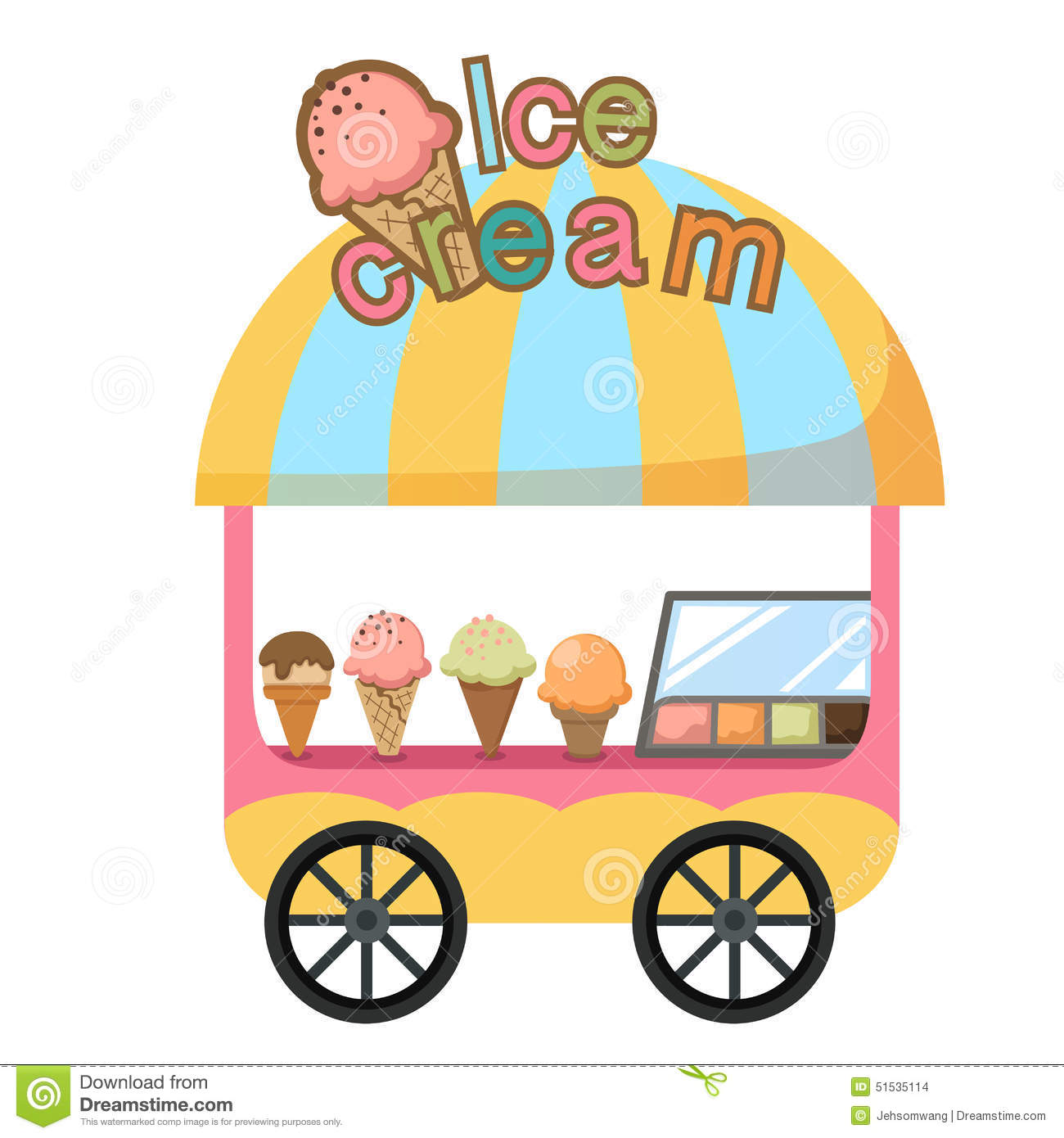 Cart Stall And A Ice Cream Vector Stock Vector Image