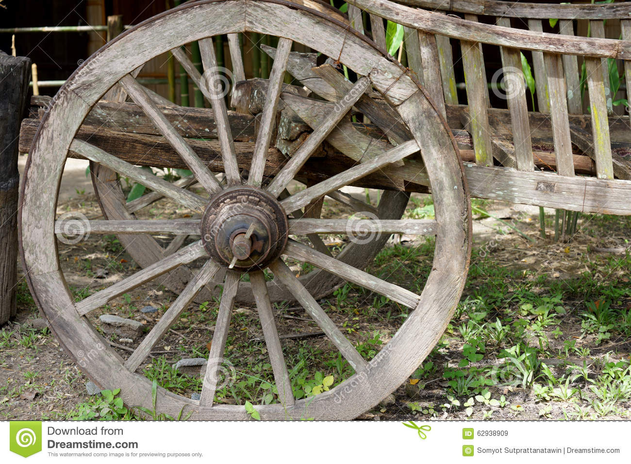 Cart Wheel Made By Wood Stock Image. Image Of Background