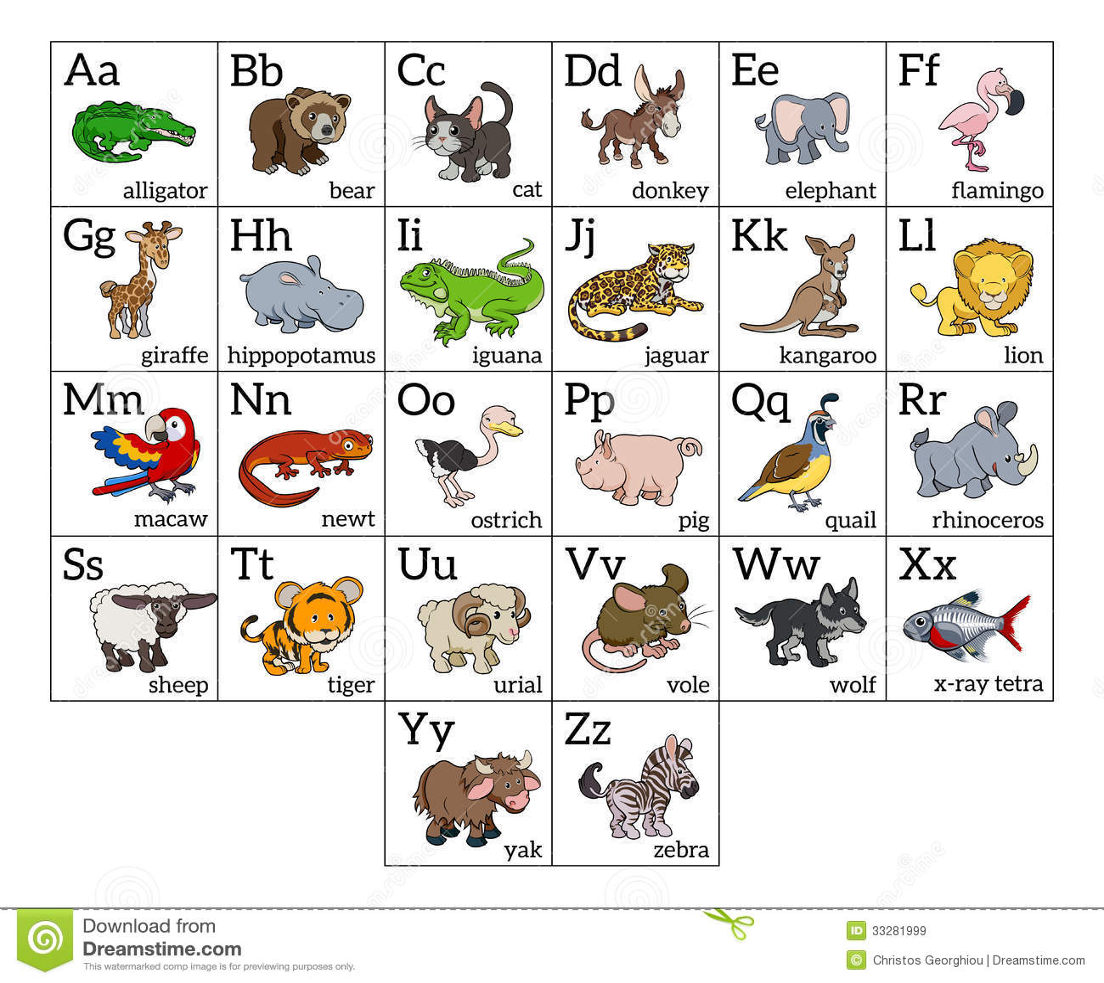 Carta animal del alfabeto de la historieta