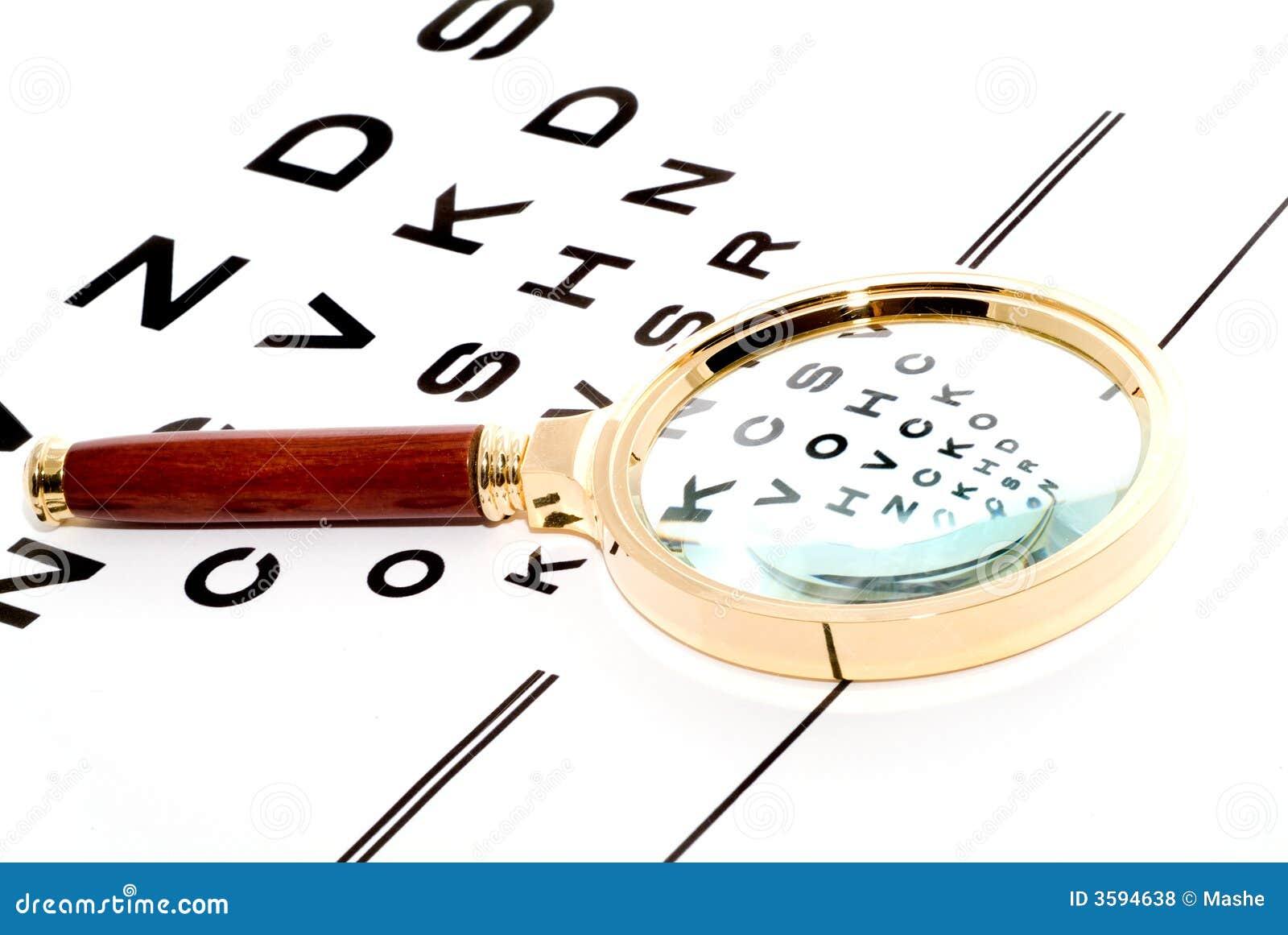 Carta através de um magnifier.